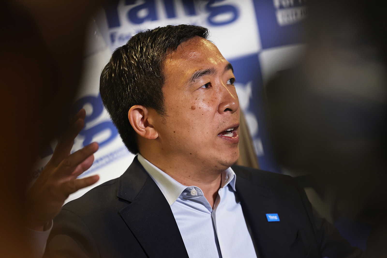 New York City mayoral candidate Andrew Yang speaks during a press conference with Assembly Member Simcha Eichenstein on June 21, in the Bensonhurst neighborhood of the Brooklyn borough in New York City.