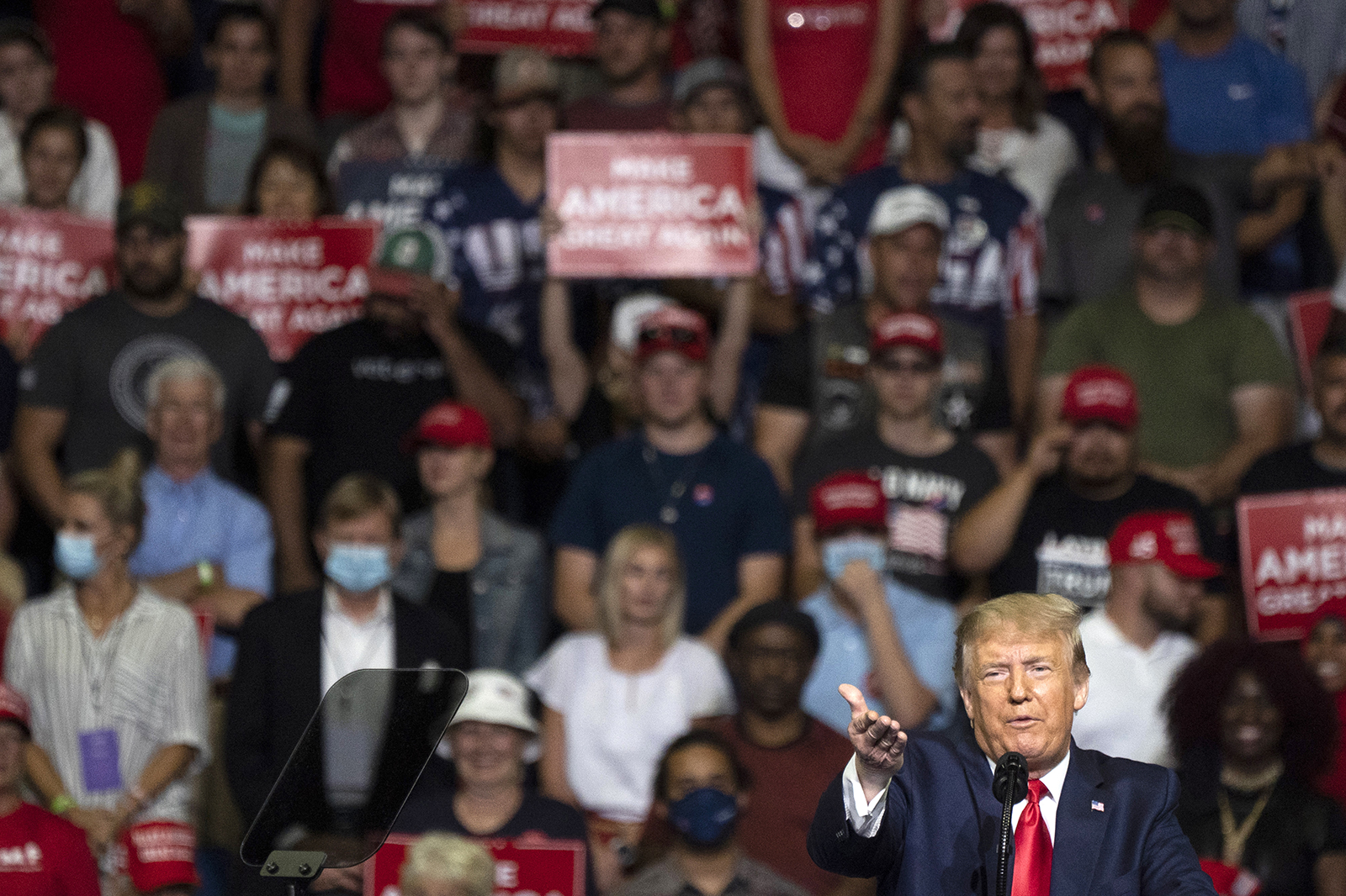 President Donald Trump speaks during a rally in Tulsa, Oklahoma on June 20.