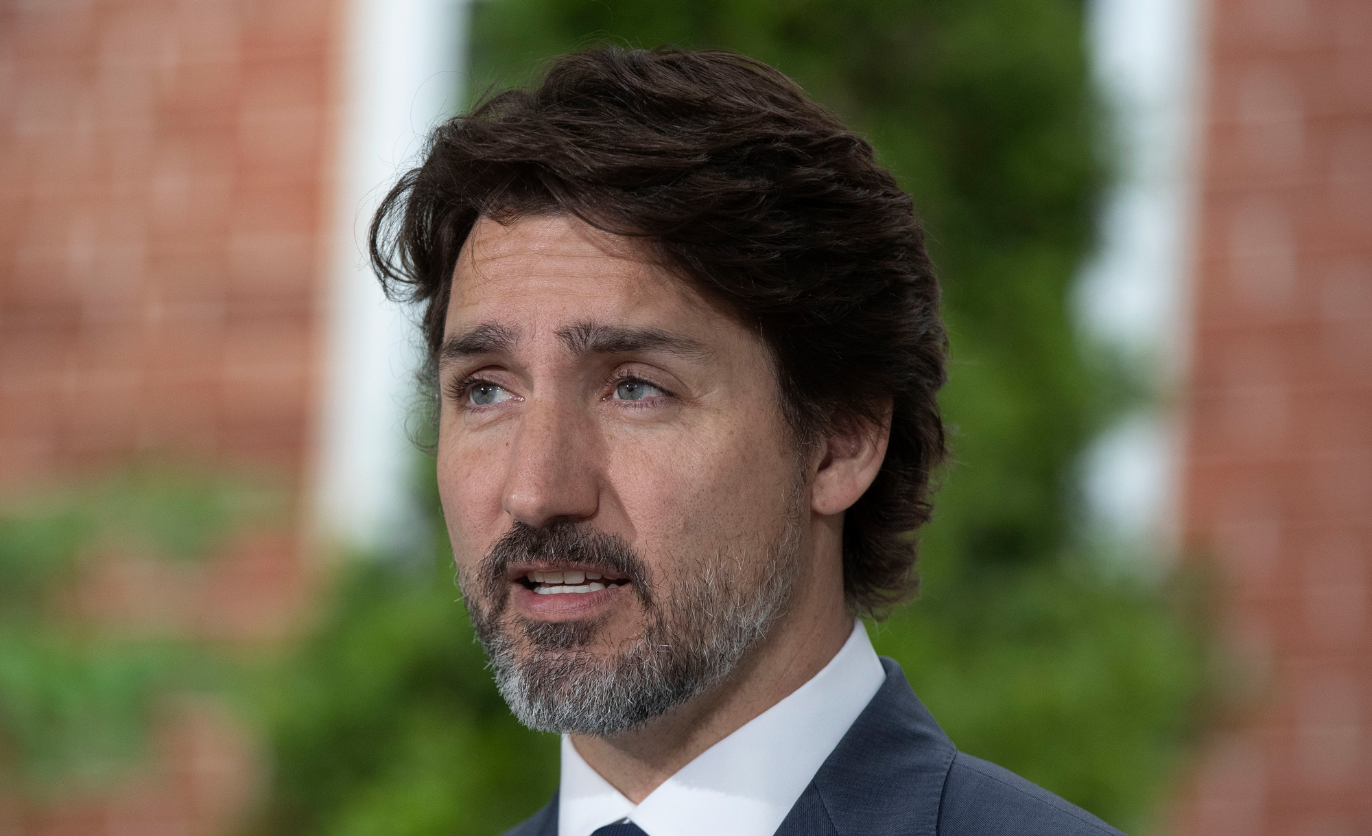 Canadian Prime Minister Justin Trudeau speaks during his daily coronavirus briefing at Rideau Cottage in Ottawa, Ontario, on June 25.