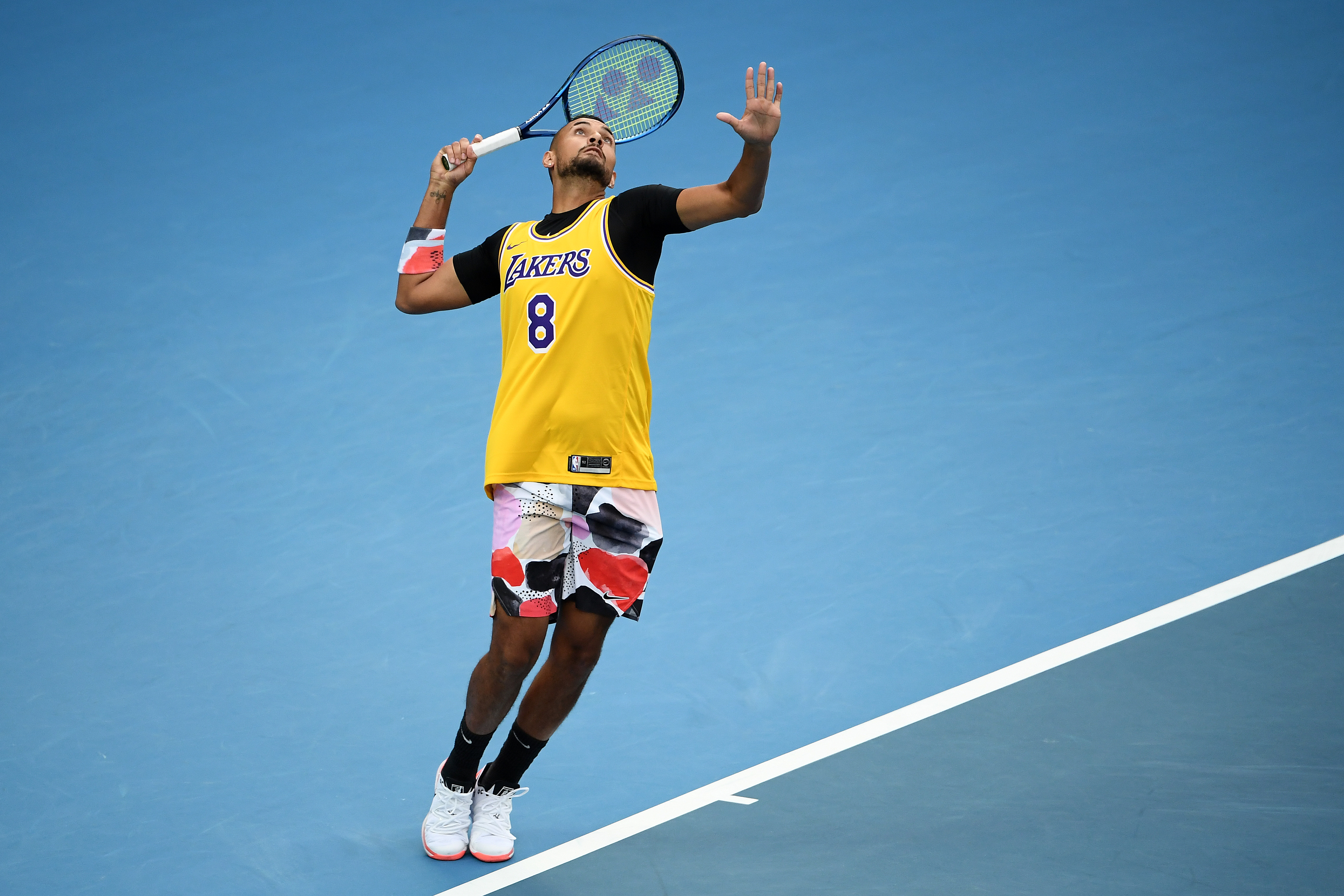Nick Kyrgios of Australia at the 2020 Australian Open at Melbourne Park on January 27, 2020.