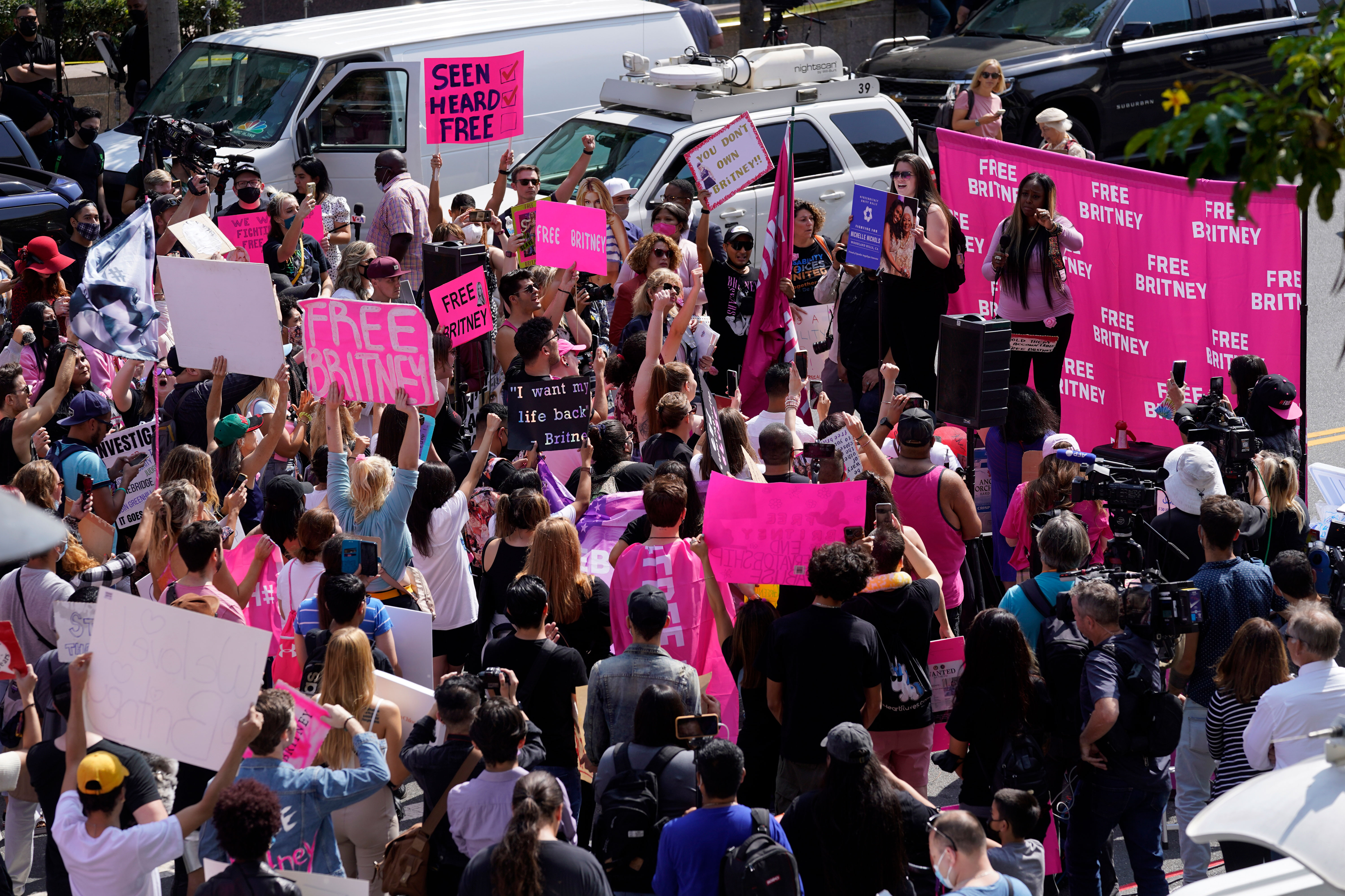 Britney Spears supporters demonstrate outside the Stanley Mosk Courthouse in Los Angeles on September 29.