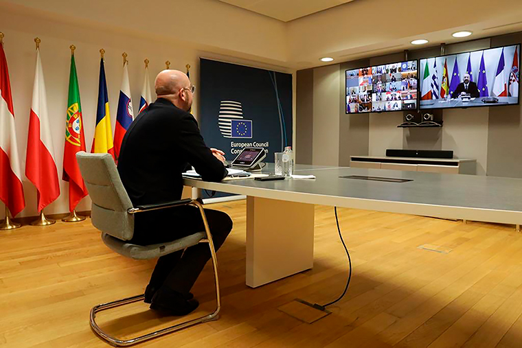 The President of the European Council Charles Michel participates in a video call of world leaders from the Group of 20 and other international bodies and organizations, Thursday, March 26.
