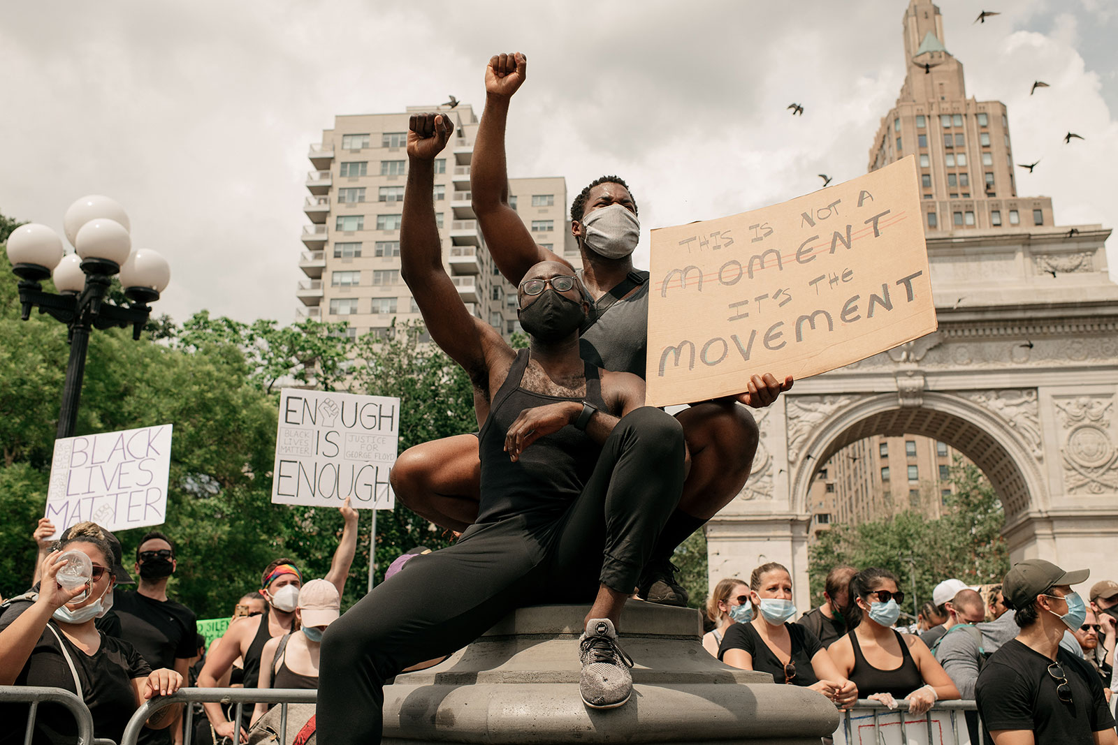 Demonstrators wear face masks during a protest at Washington Square Park in New York on Junedenouncing systemic racism and the police killings of black Americans rally in Washington Square Park in the borough of Manhattan on June 6, 2020 in New York City. This is the 12th day of protests since George Floyd died in Minneapolis police custody on May 25. (Photo by Scott Heins/Getty Images)