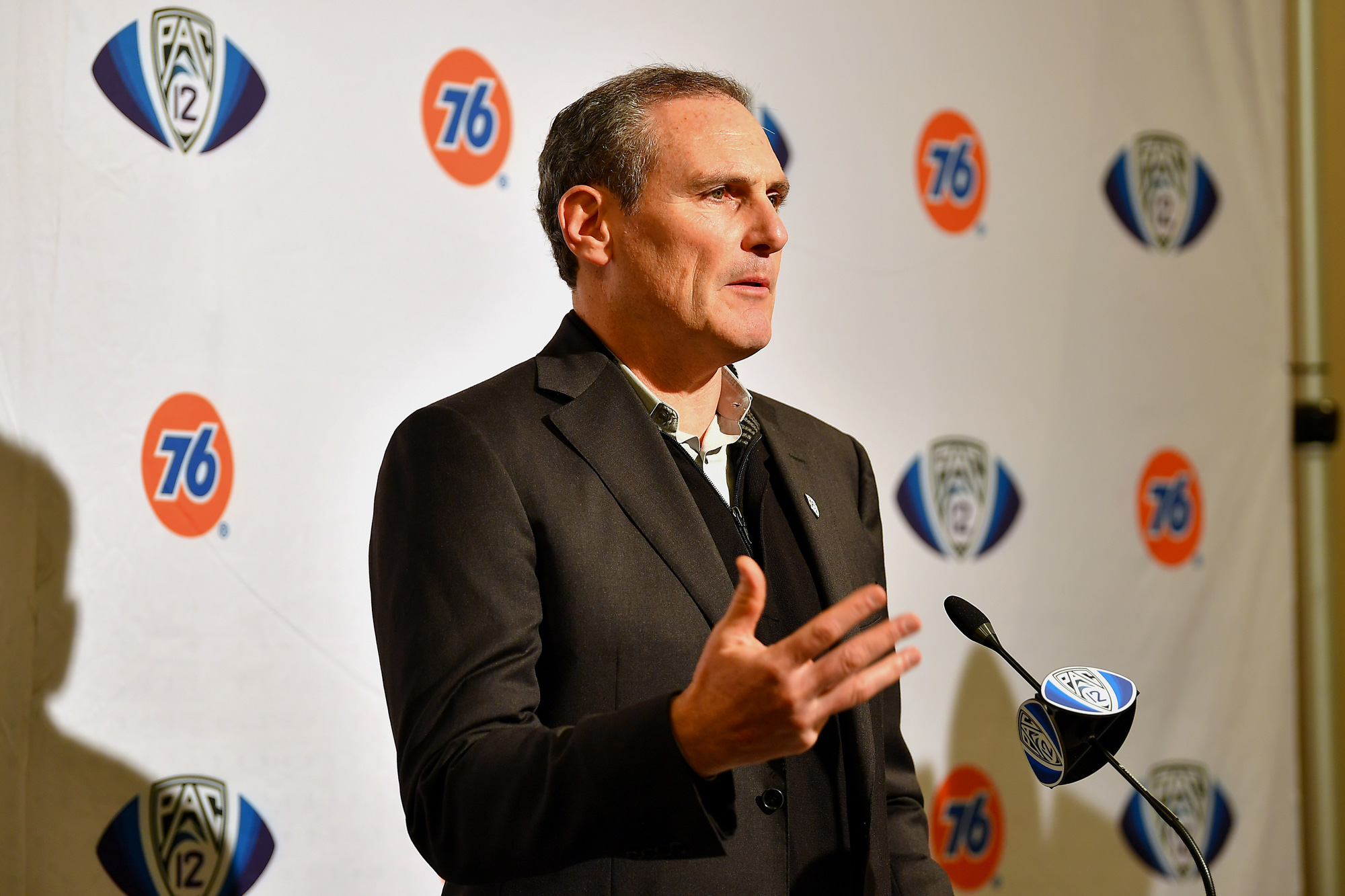 Pac-12 Commissioner Larry Scott speaks at a pre-game press conference at Levi's Stadium on December 6, 2019, in Santa Clara, California.