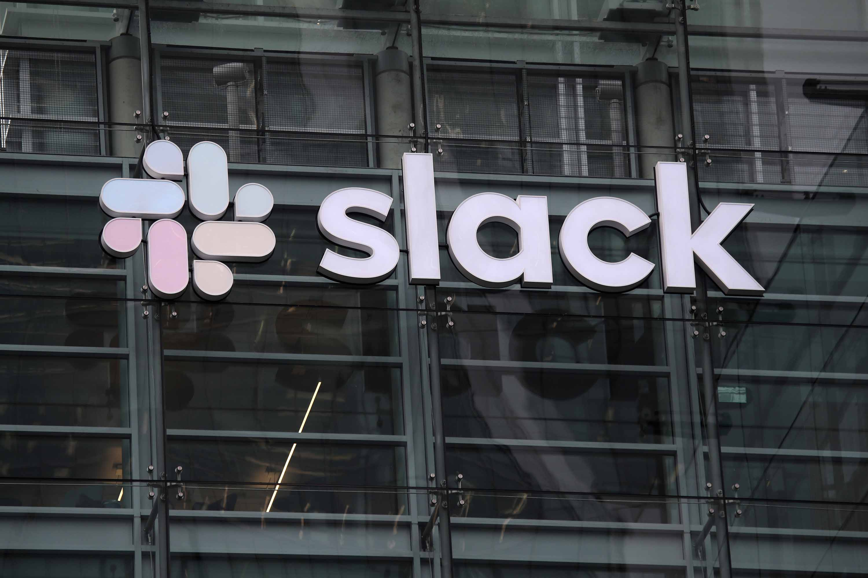 A view of Slack headquarters in San Francisco, California, in April 2019.