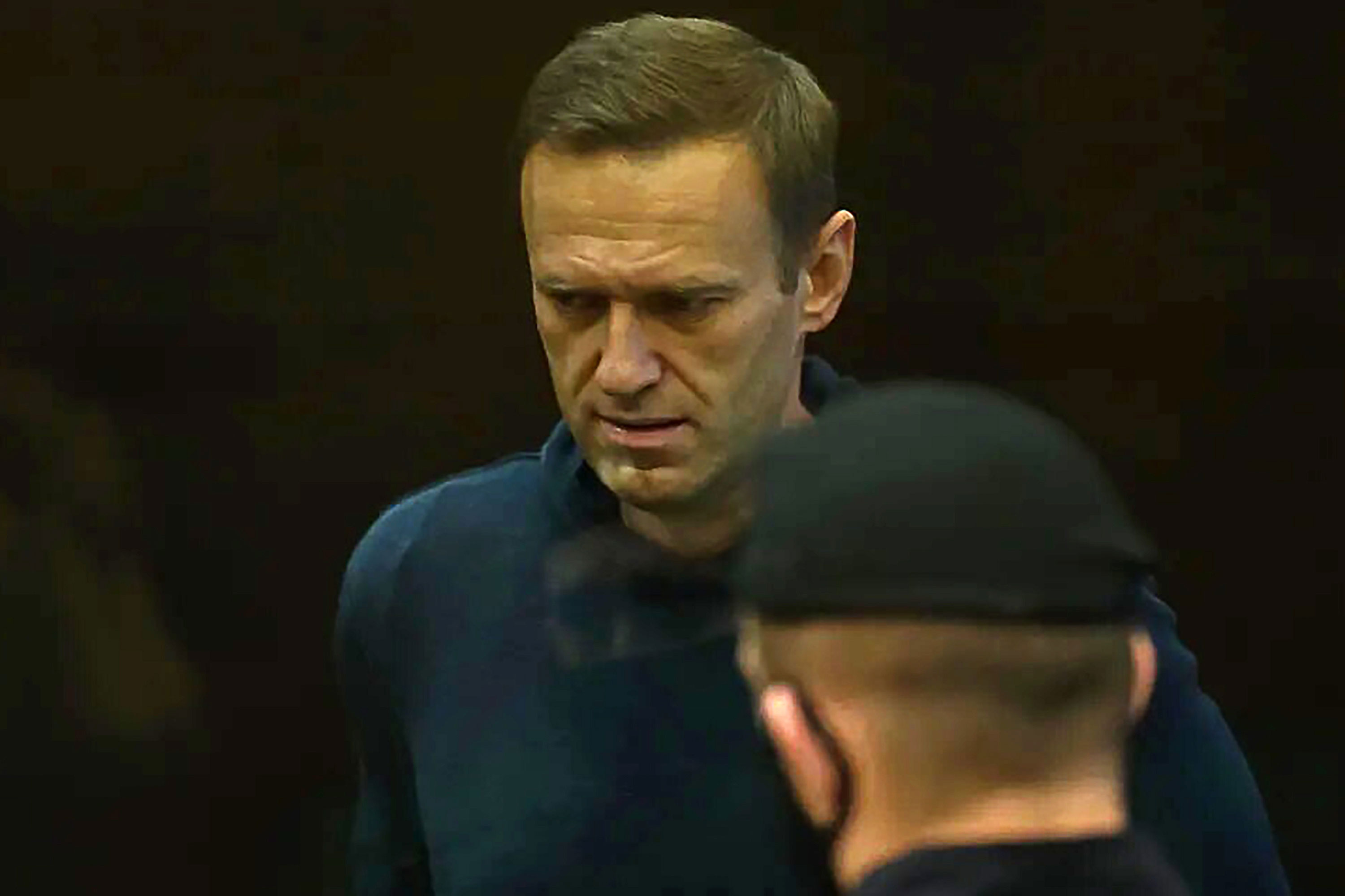 Alexei Navalny appears at Moscow City Court on February 2.