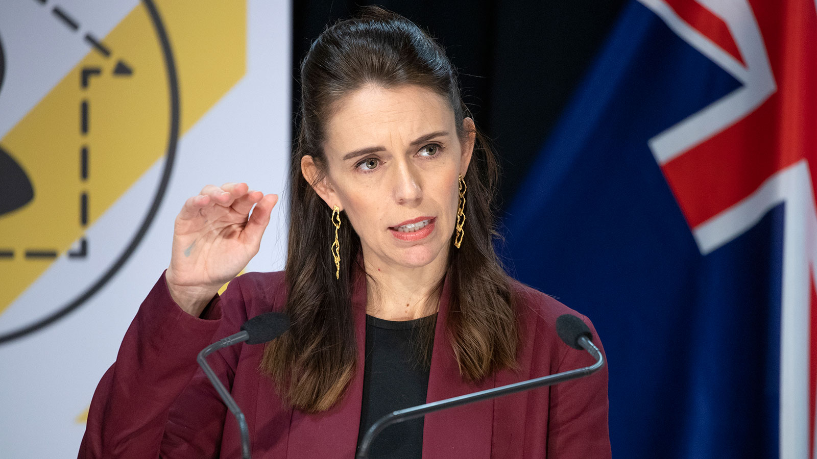 New Zealand Prime Minister Jacinda Ardern speaks at a briefing on the coronavirus pandemic at Parliament in Wellington, New Zealand on April 27.