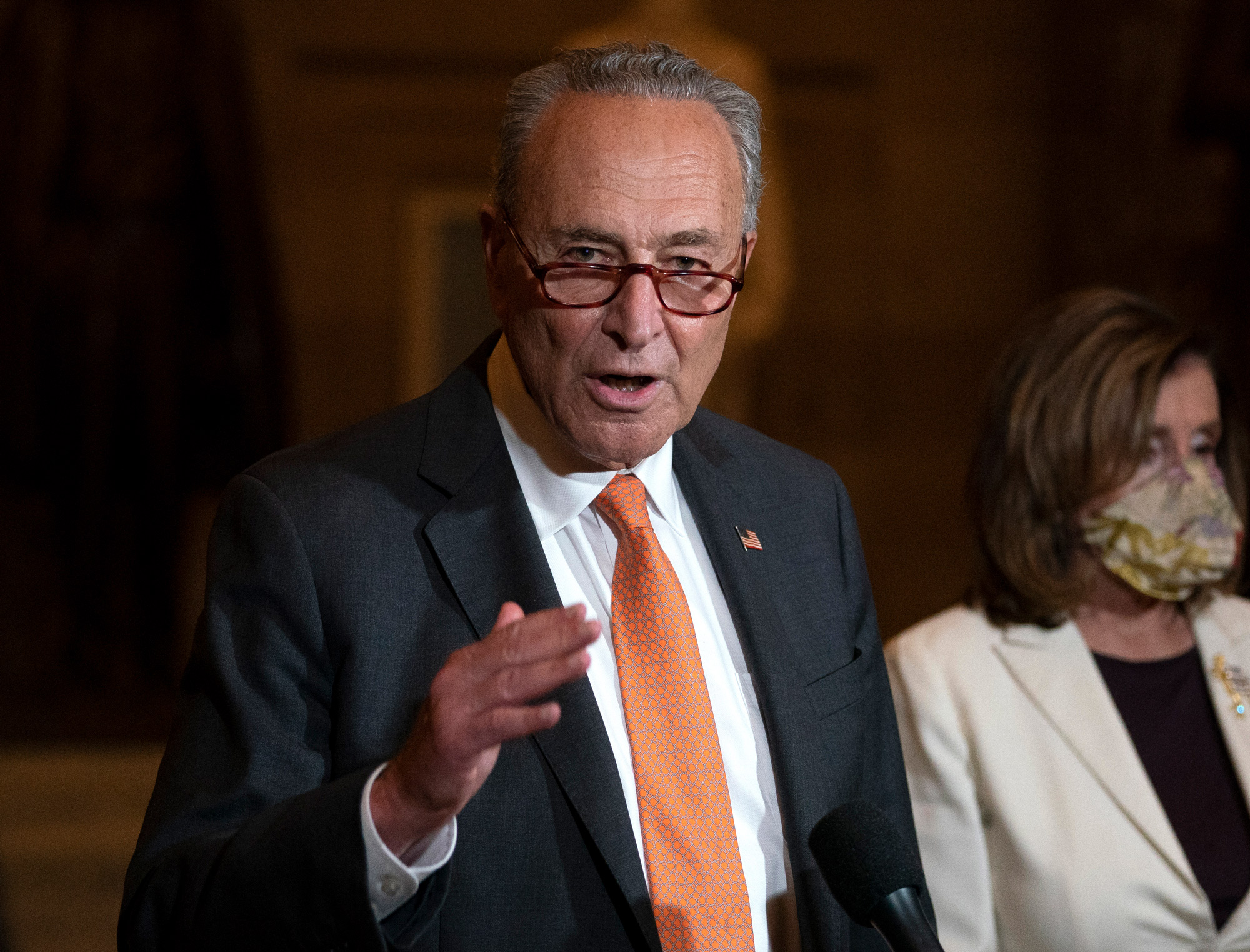Senate Minority Leader Chuck Schumer speaks to reporters on Capitol Hill in Washington, DC, on August 6.