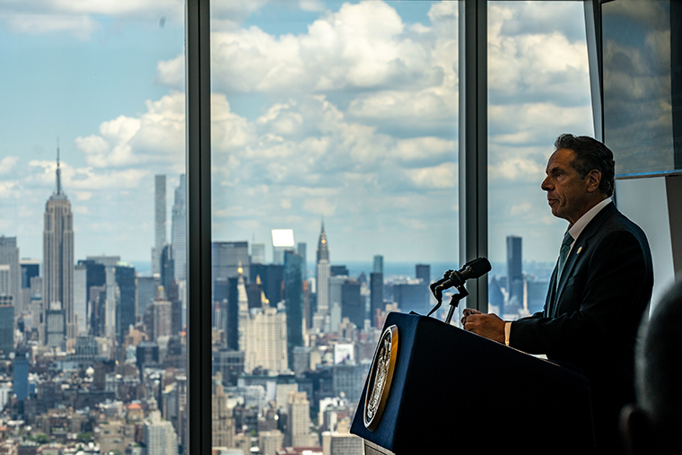 New York Gov. Andrew Cuomo speaks during a press conference at One World Trade Center on June 15, 2021 in New York City. The Governor announced that 70% of New York State's adult population has received at least one dose of the COVID-19 vaccine.