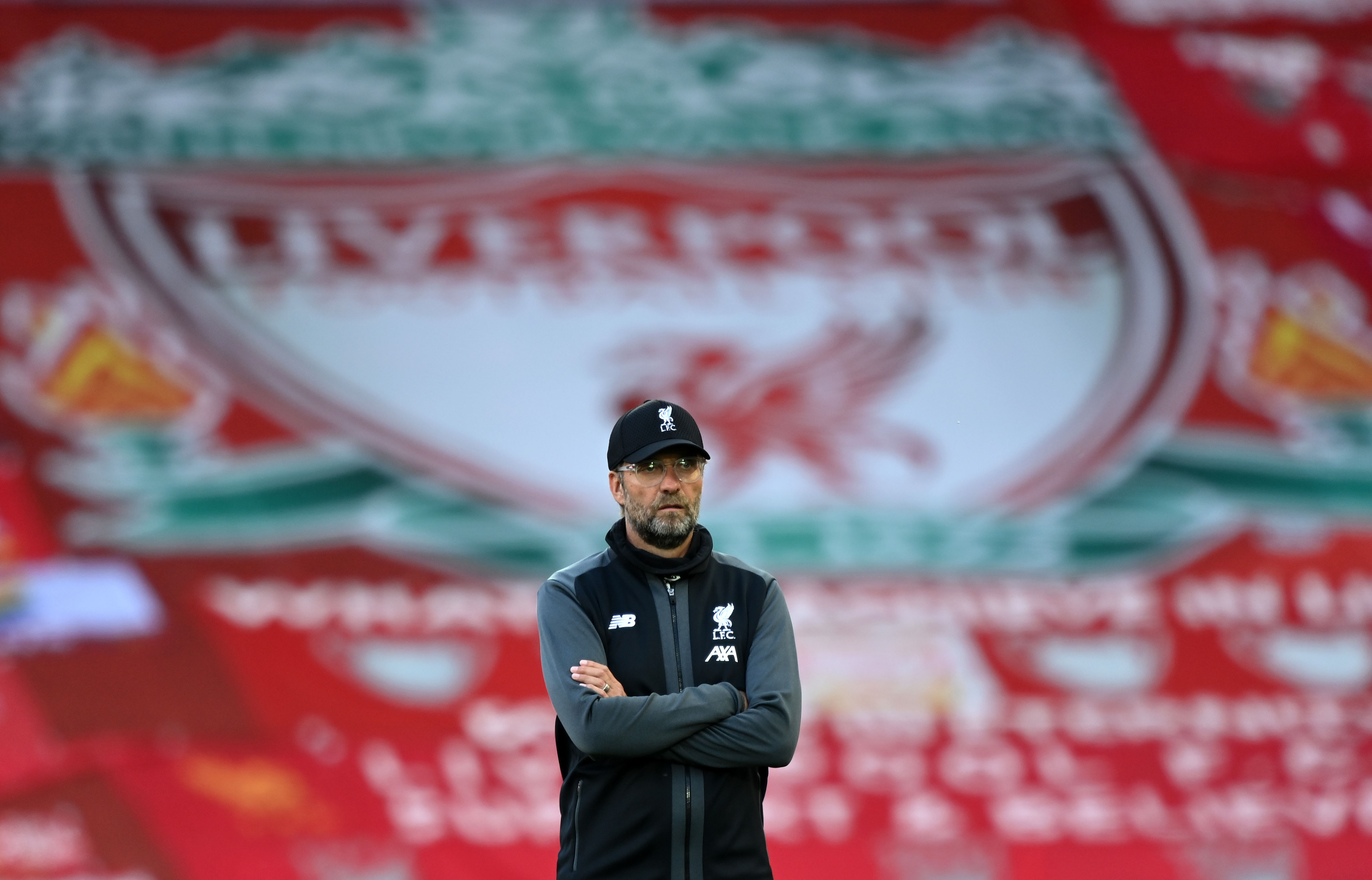 Liverpool Manager Jurgen Klopp looks on prior to a Premier League match at Anfield stadium in England on June 24.