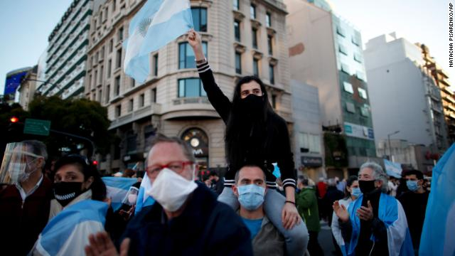 People protest the government's Covid-19 quarantine policies in Buenos Aires, Argentina, on Aug. 17, 2020.