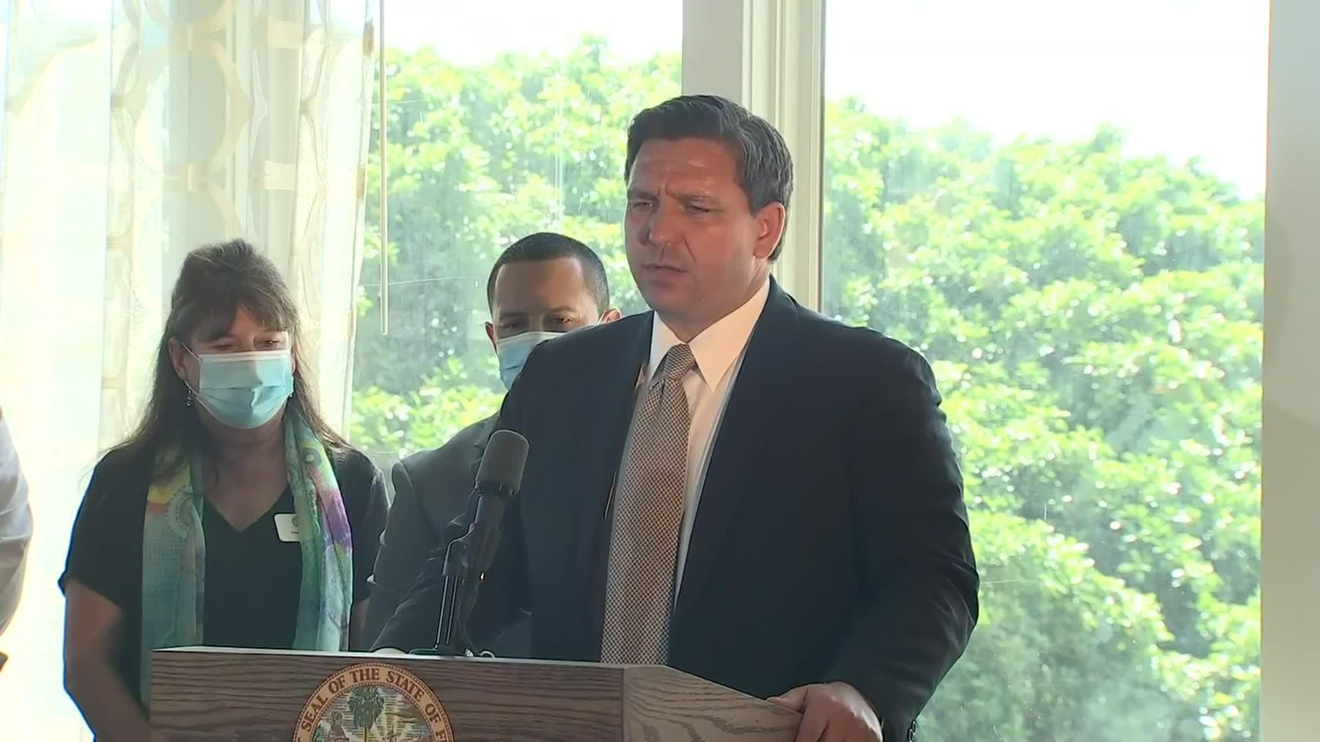 Florida Gov. RonDeSantis speaks during a press conference in St. Petersburg, Florida, on September 25.