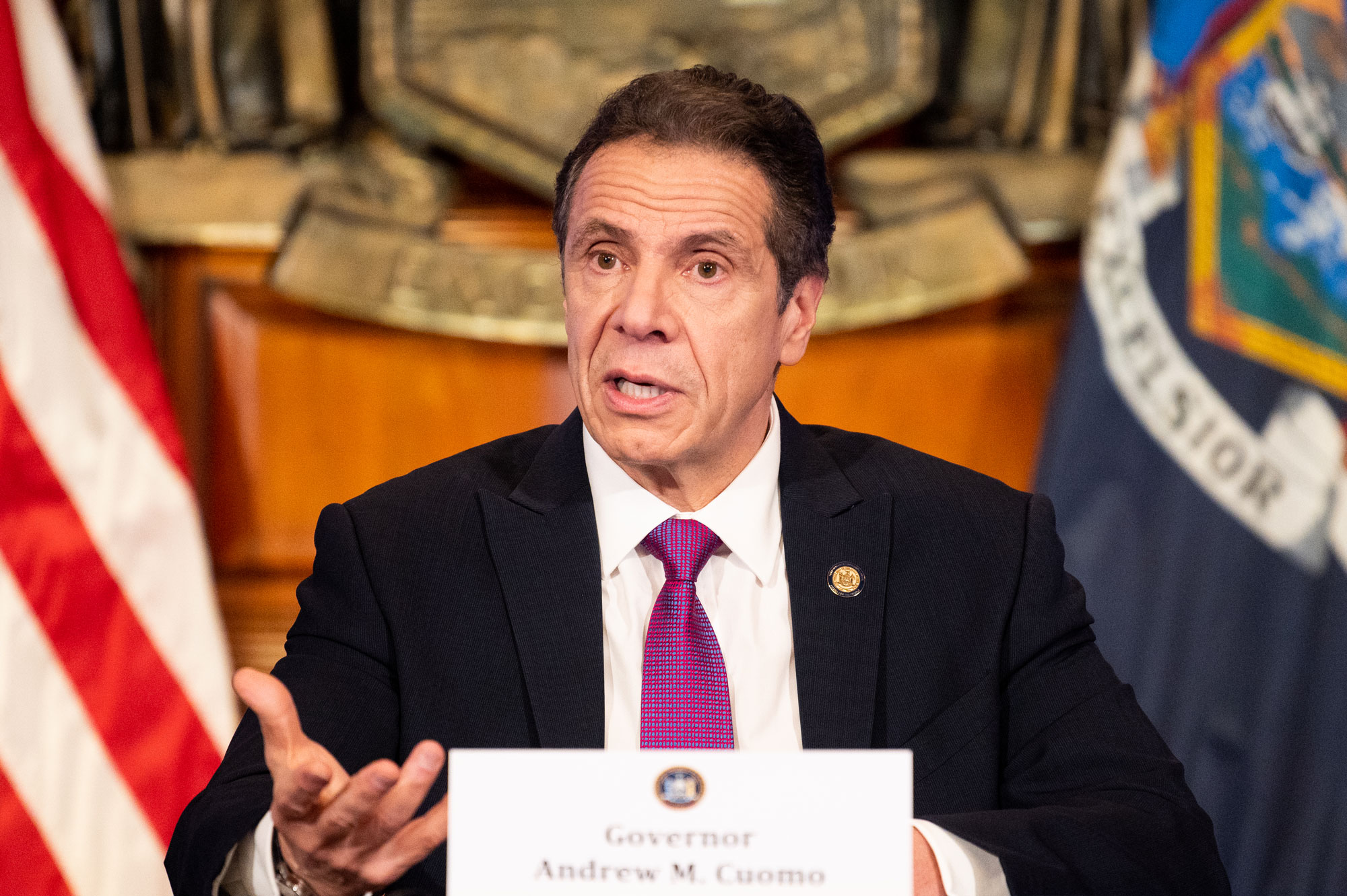New York Governor Andrew Cuomo speaks during a press conference at the State Capitol in Albany, New York.