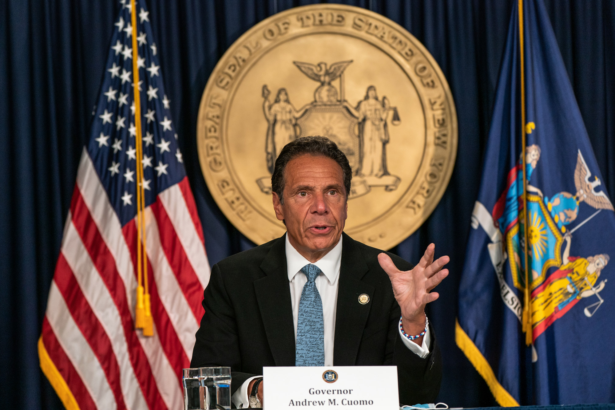 New York Gov. Andrew Cuomo speaks during the daily media briefing at the Office of the Governor of the State of New York on July 23 in New York City.