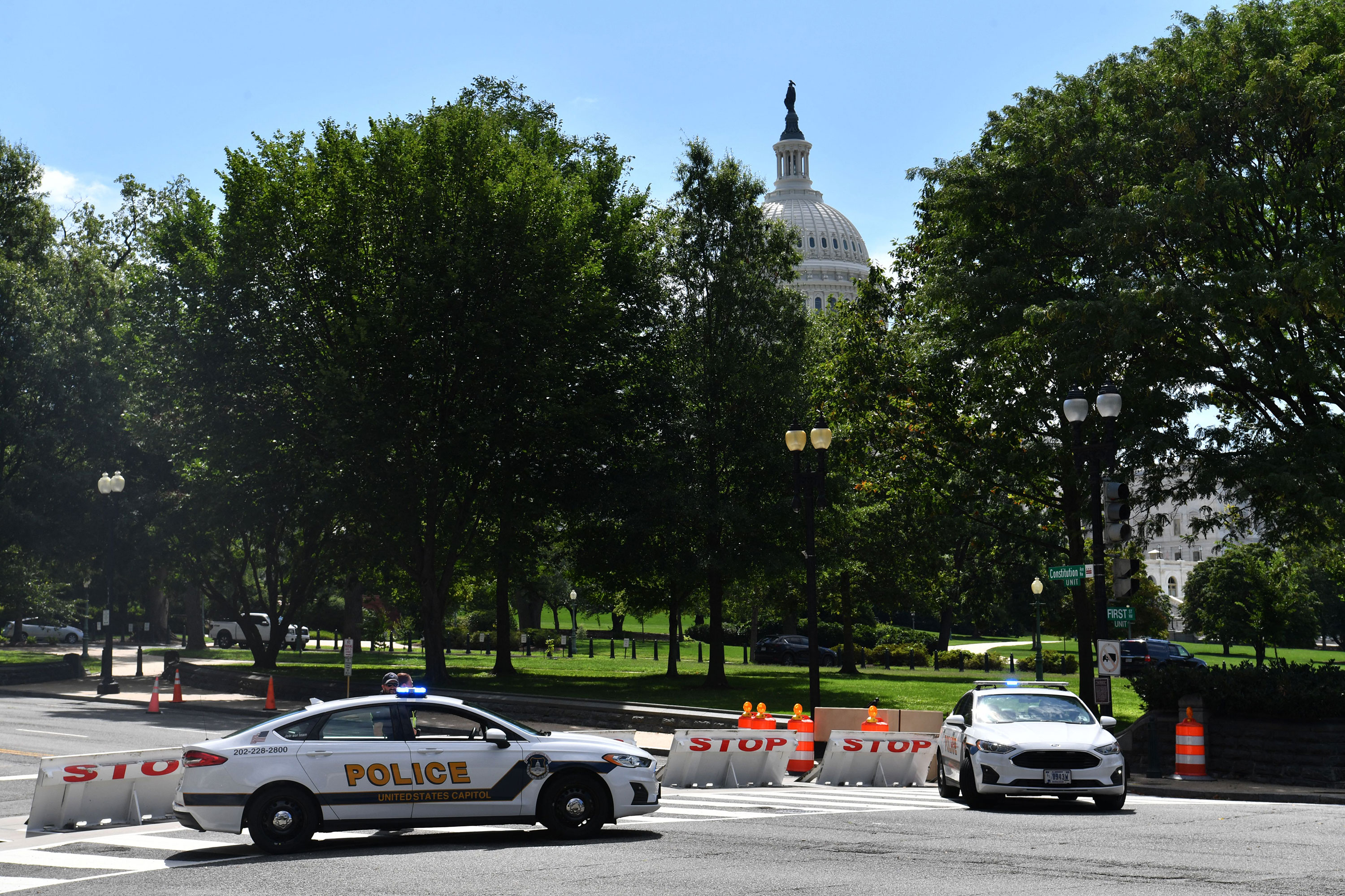 US Capitol police block a street near the Capitol and Library of Congress on August 19.
