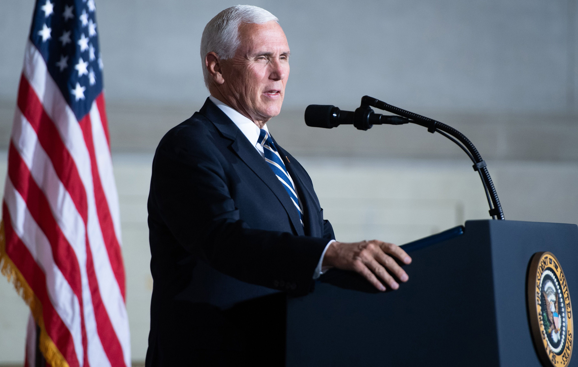 Vice President Mike Pence speaks during the White House Conference on American History at the National Archives in Washington, DC, September 17.