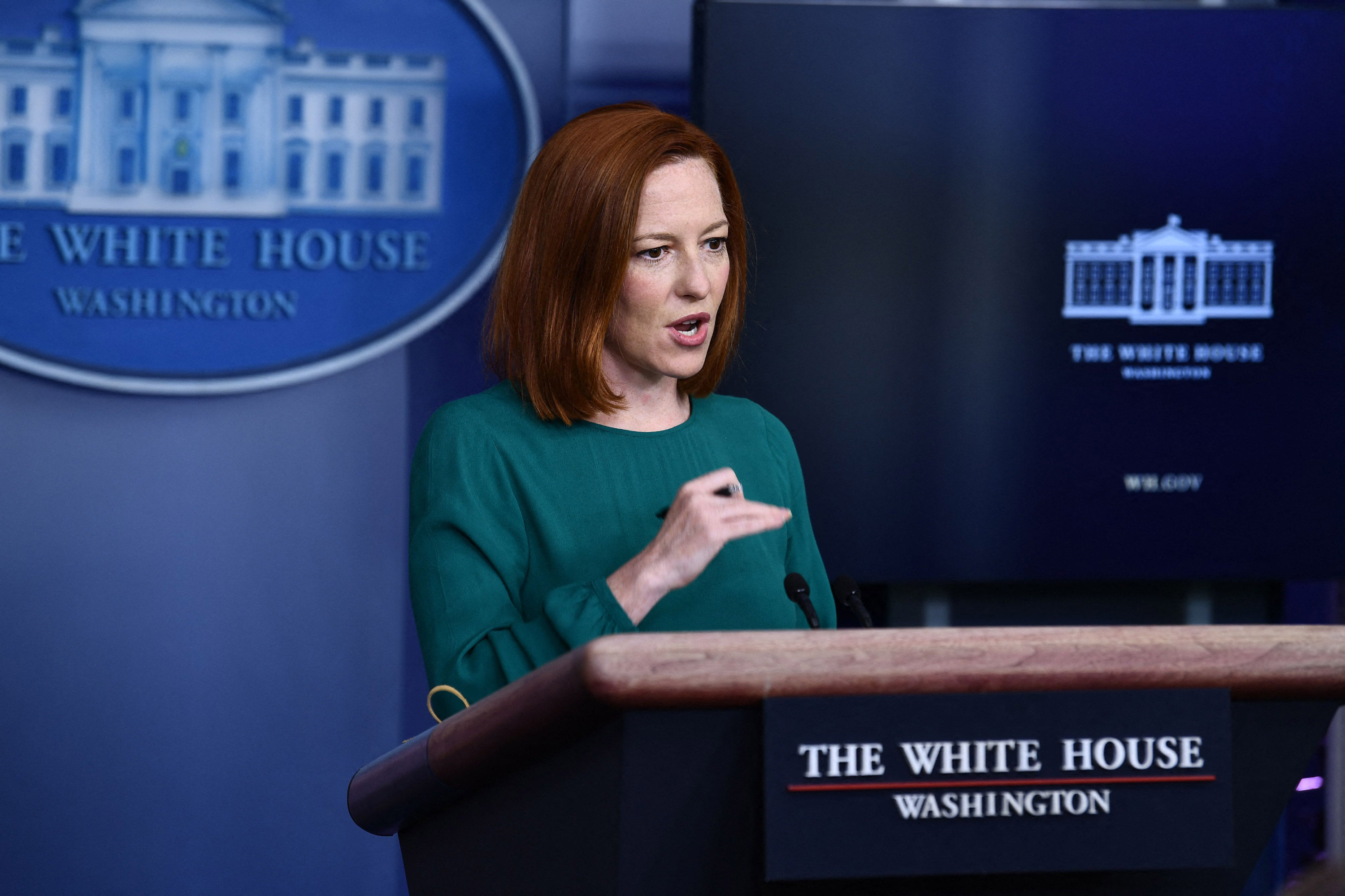 White House Press Secretary Jen Psaki speaks during the daily press briefing on April 6 in the Brady Briefing Room of the White House in Washington, DC.