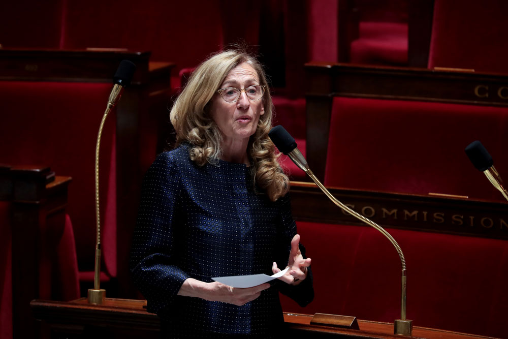 French Justice Minister Nicole Belloubet delivers a speech during a session of Questions to the government, on May 19, at the national assembly in Paris.