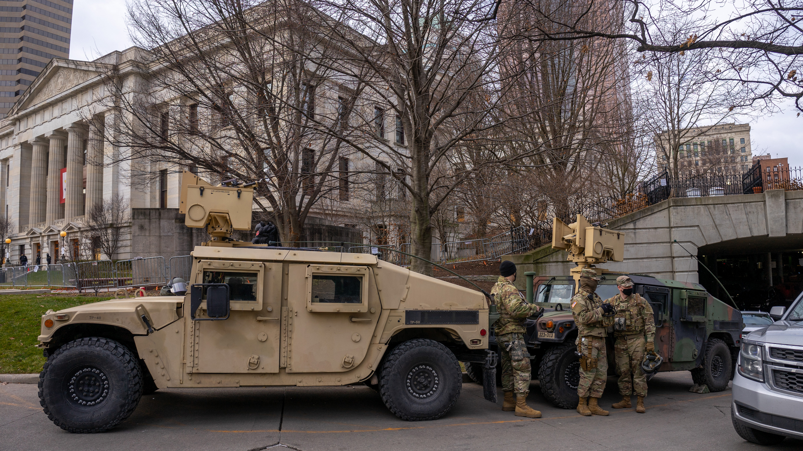 Members of the Ohio National Guard arrive ahead of protests at the Ohio Statehouse on Wednesday, January 20, in Columbus, Ohio.