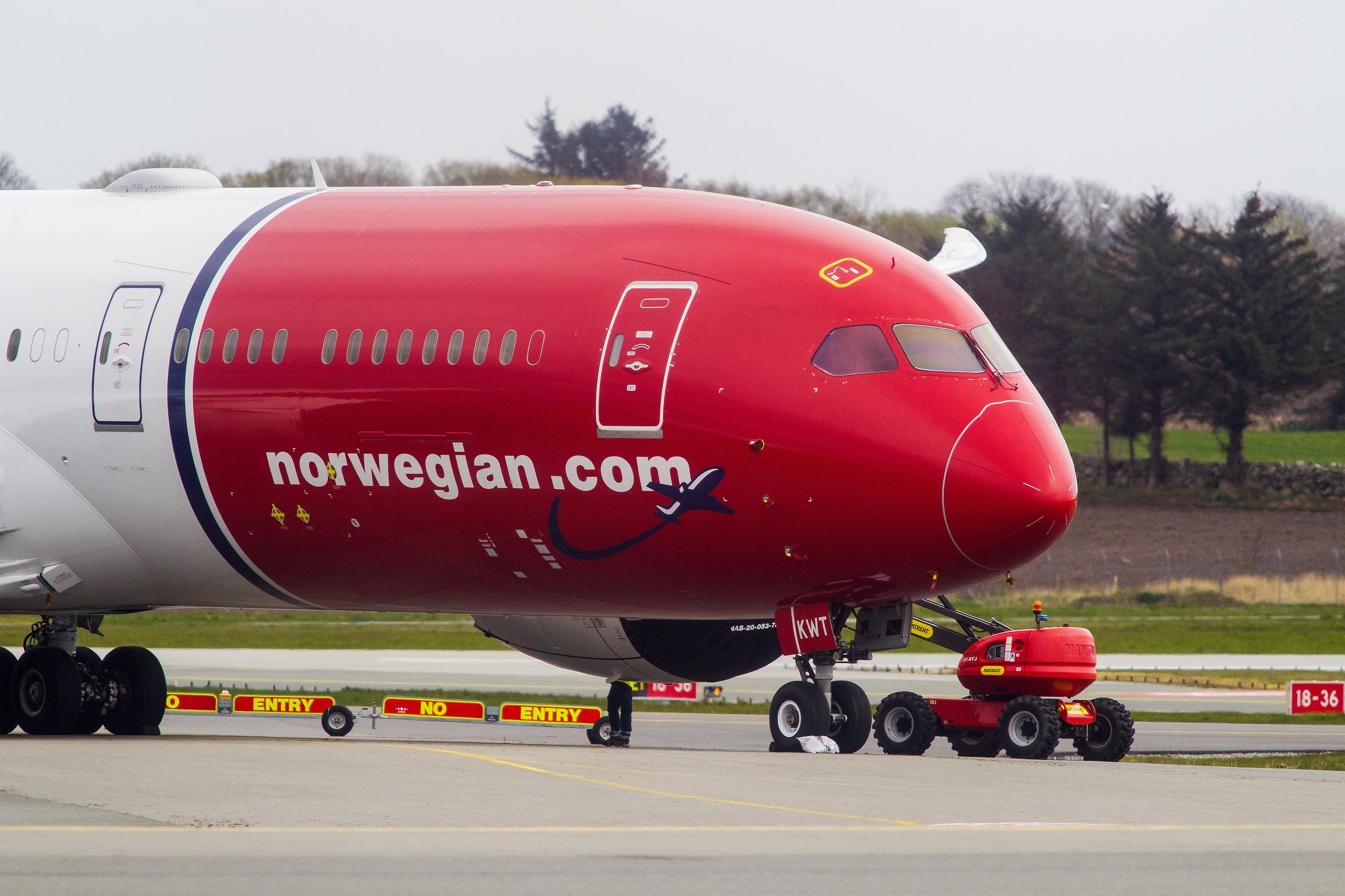 A Norwegian Air passenger aircraft is pictured at Norway's Stavanger Airport in April.