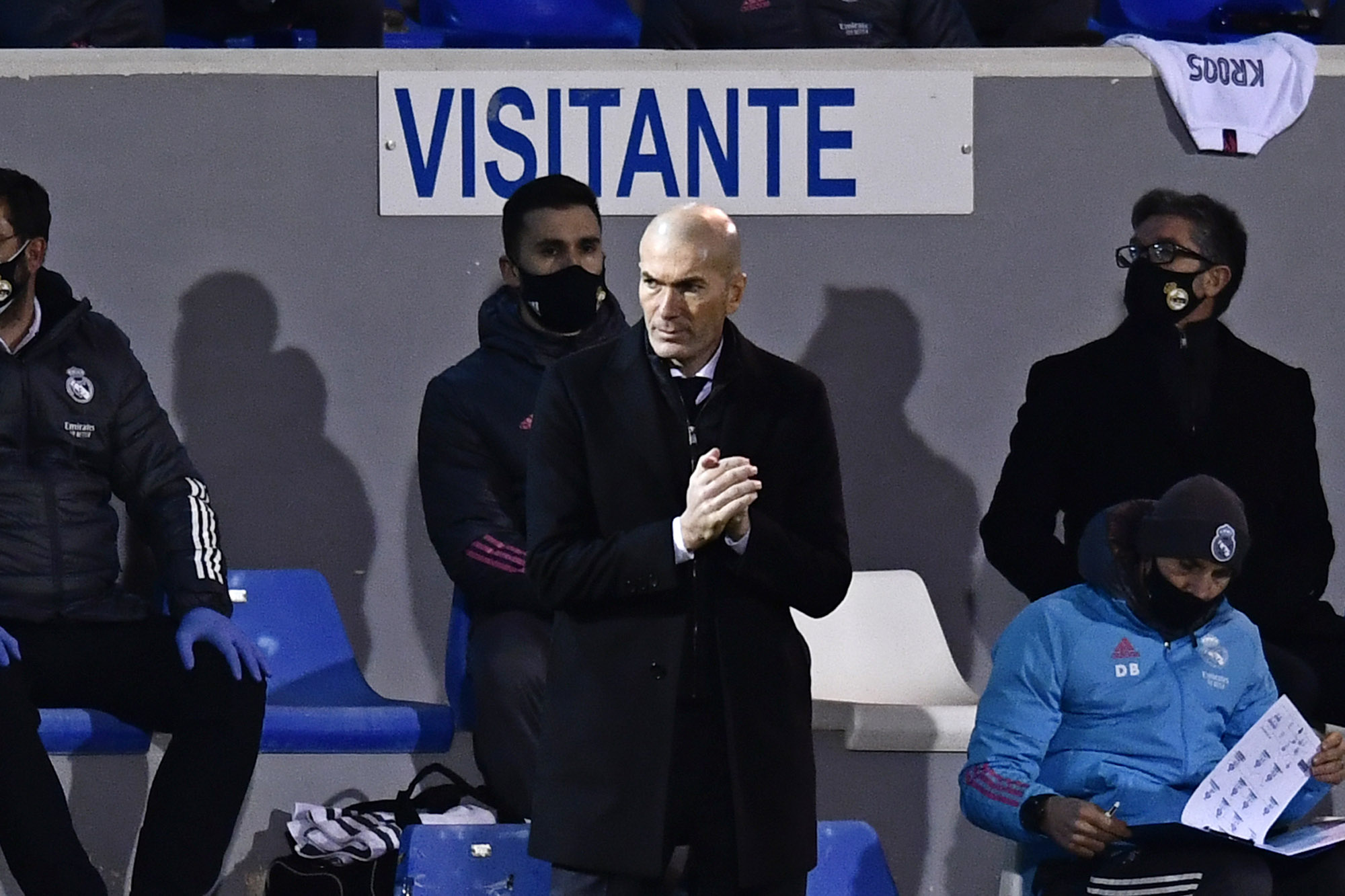Real Madrid's head coach Zinedine Zidane is pictured during a match between Alcoyano and Real Madrid at the El Collao stadium in Alcoy, Spain, on January 20.