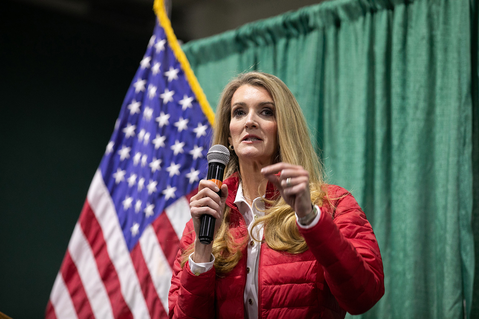 "Sen. Kelly Loeffler (R-GA) speaks to the crowd of supporters during a ""Defend the Majority"" rally at the Georgia National Fairgrounds and Agriculture Center in Perry, Georgia, on November 19."
