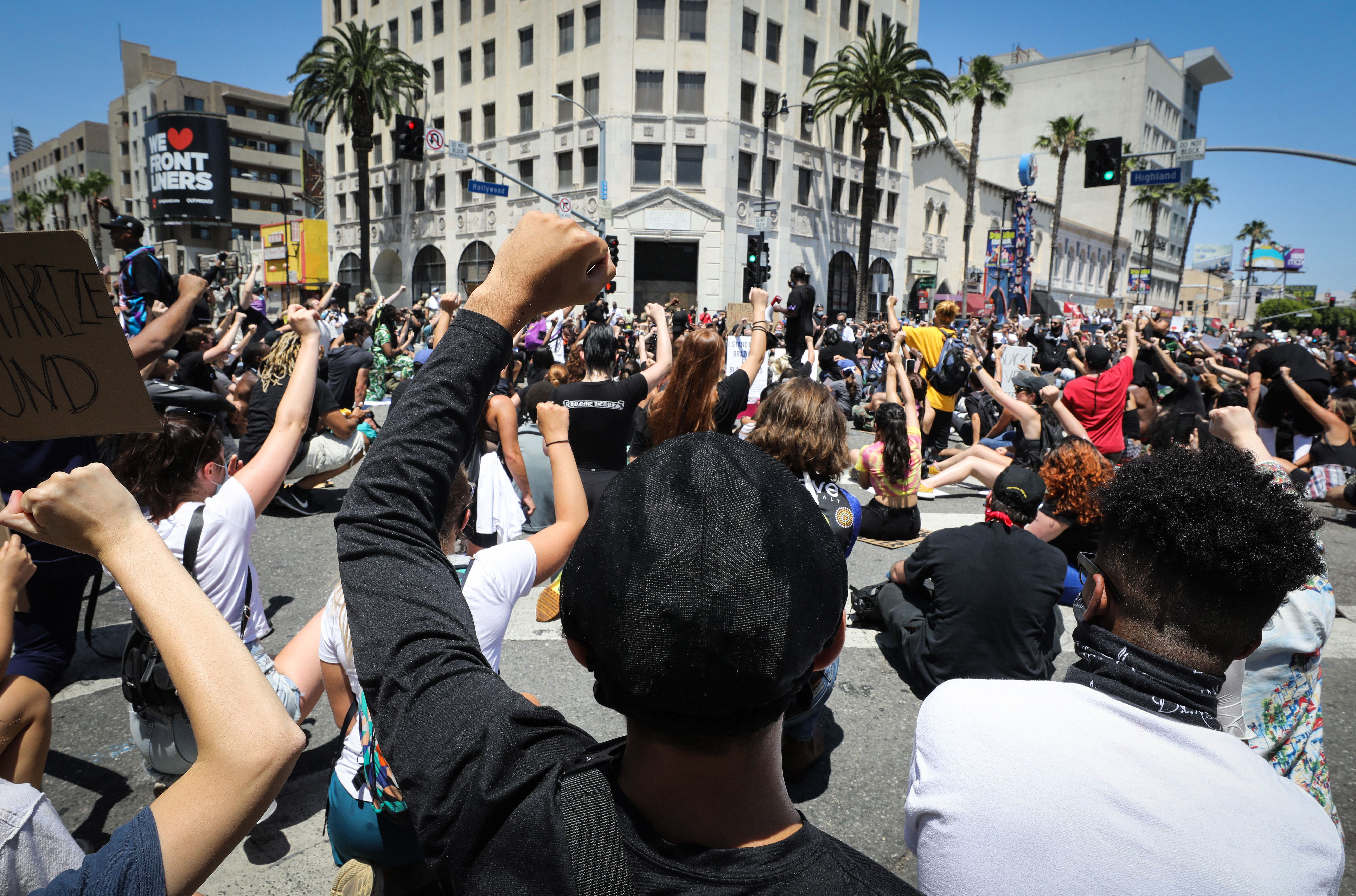 Protesters gather at a peaceful demonstration over George Floyd's death in Hollywood on June 3 in Los Angeles, California.