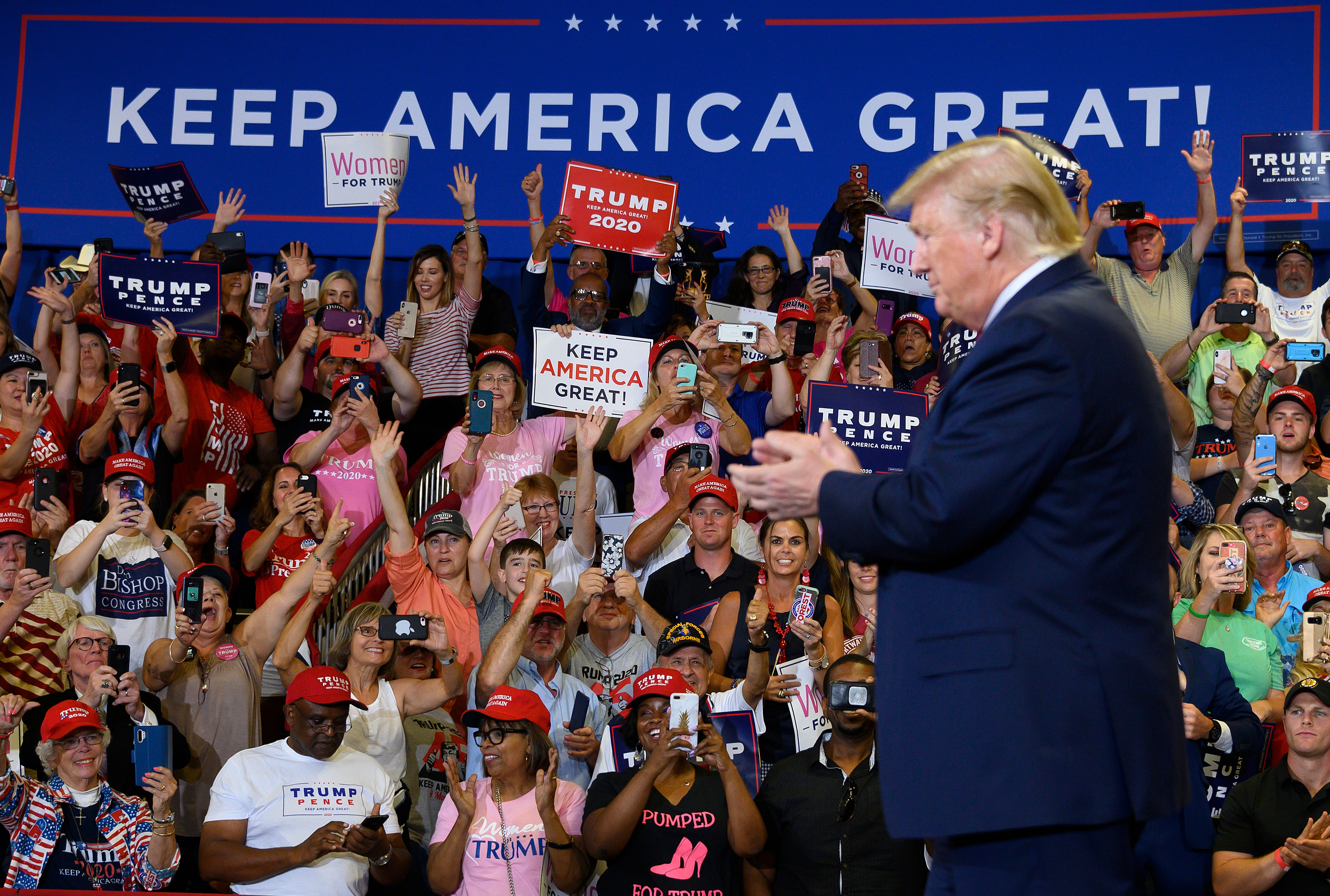 "PresidentTrump arrives for a ""Keep America Great"" campaign rally at The Crown Arena in Fayetteville, North Carolina."