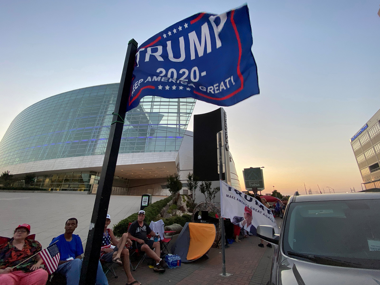 On Wednesday, President Trump supporters are seen camping outside the venue for his upcoming rally inTulsa,Oklahoma.
