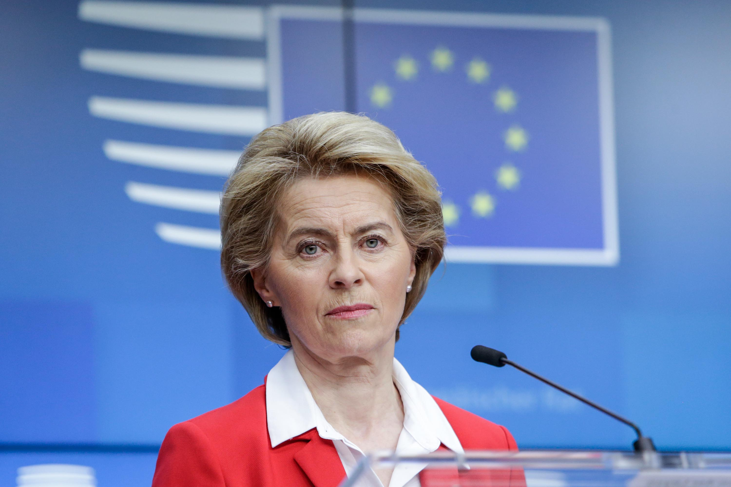 President of European Commission Ursula Von der Leyen gives a press conference in Brussels, Belgium, on March 17.