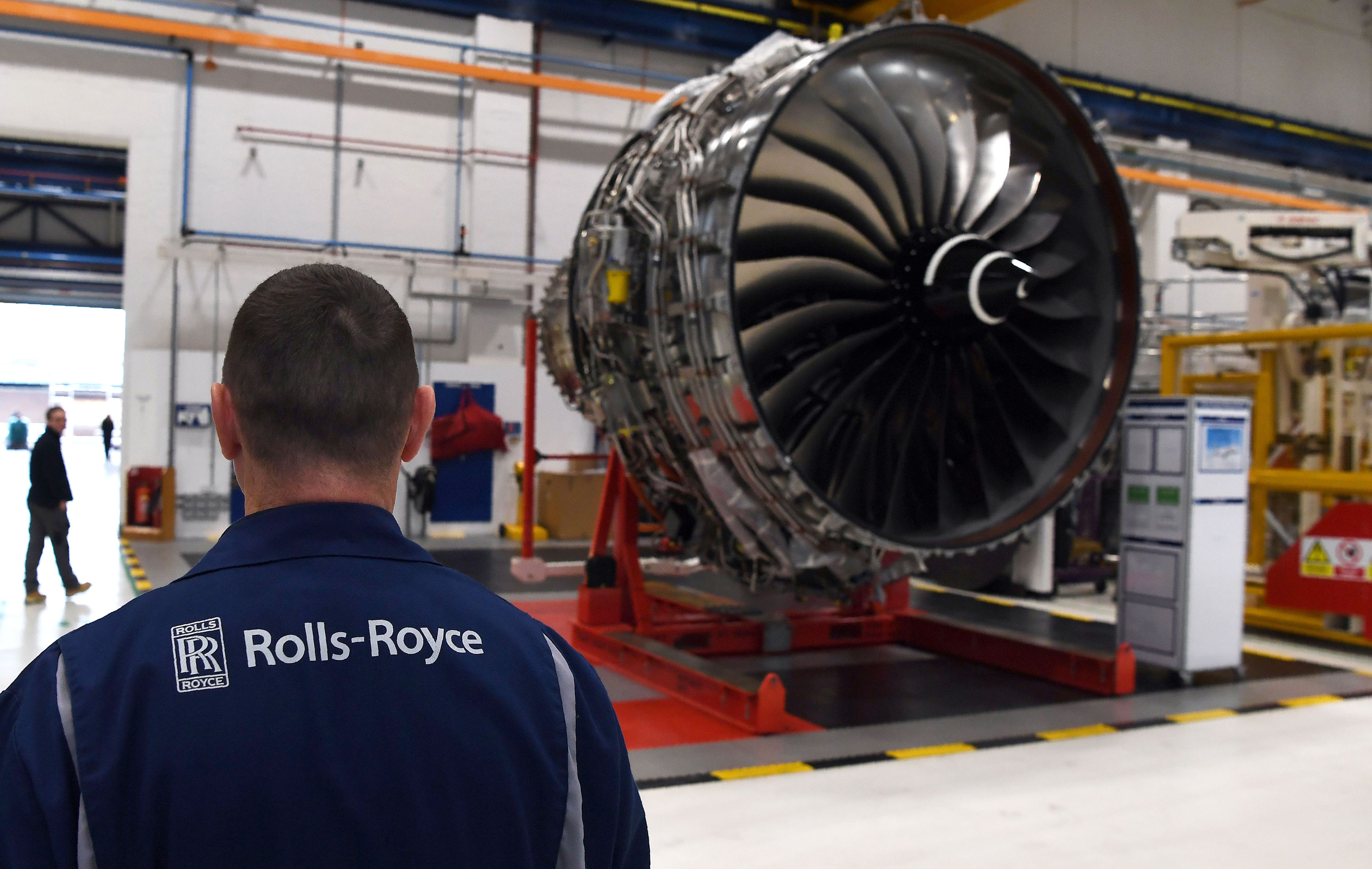 An engine is on view at the Rolls Royce factory in Derby, England, on November 30, 2016.