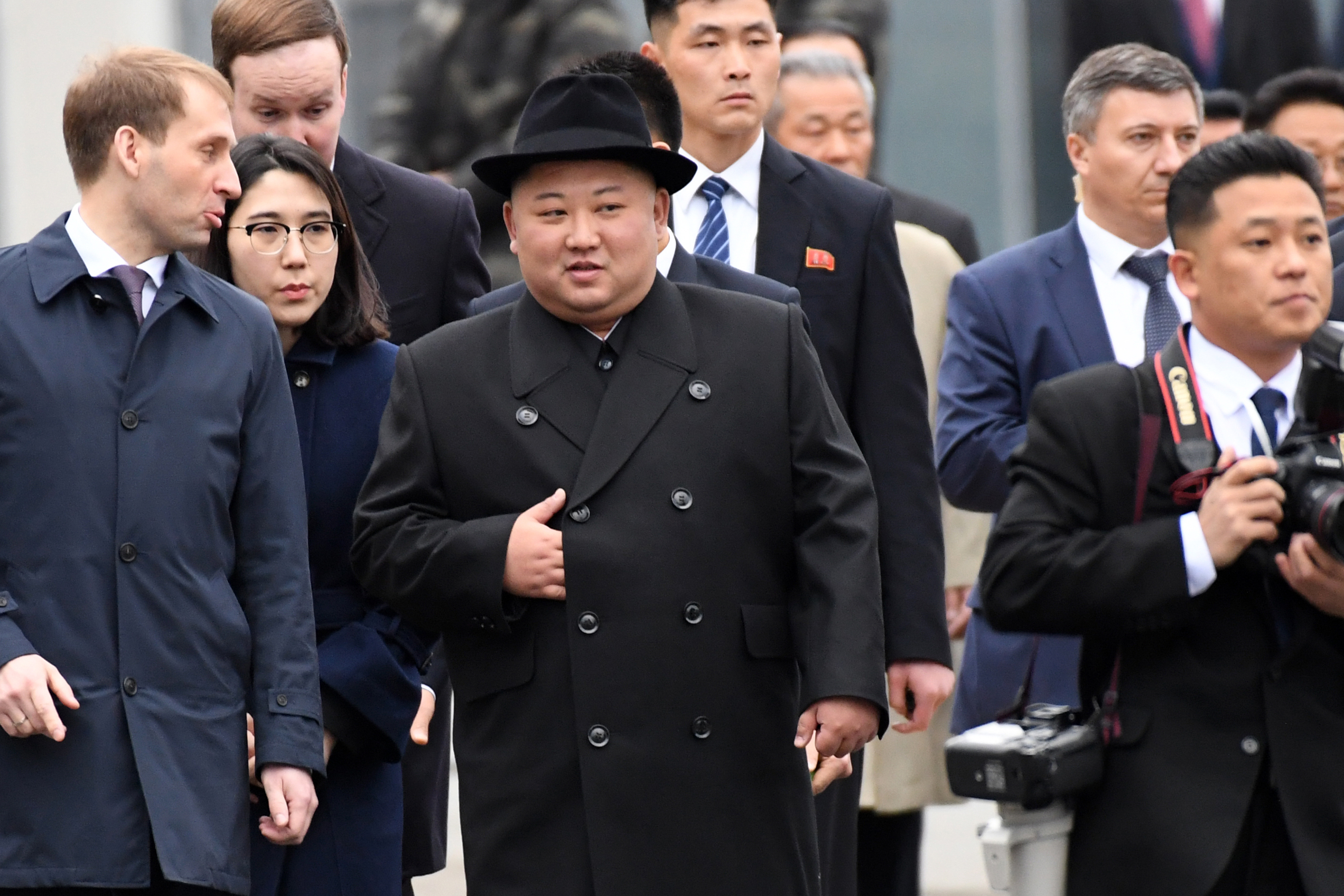 North Korean leader Kim Jong Un arrives at the far-eastern Russian port of Vladivostok on April 24, 2019.