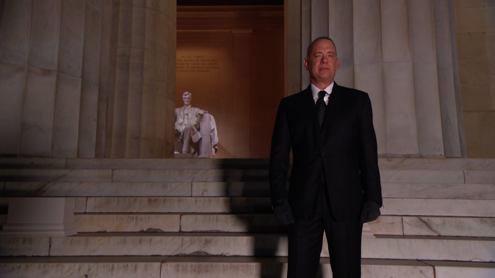 Tom Hanks hosts the Celebrate America concert spcial at the Lincoln Memorial in Washington on Wednesday, January 20.