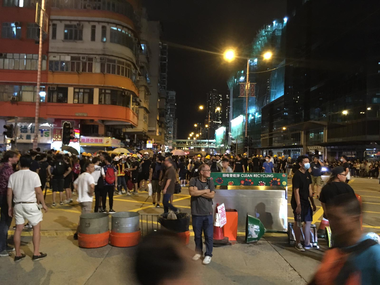 Protesters on the streets of Sham Shui Po on Monday night.