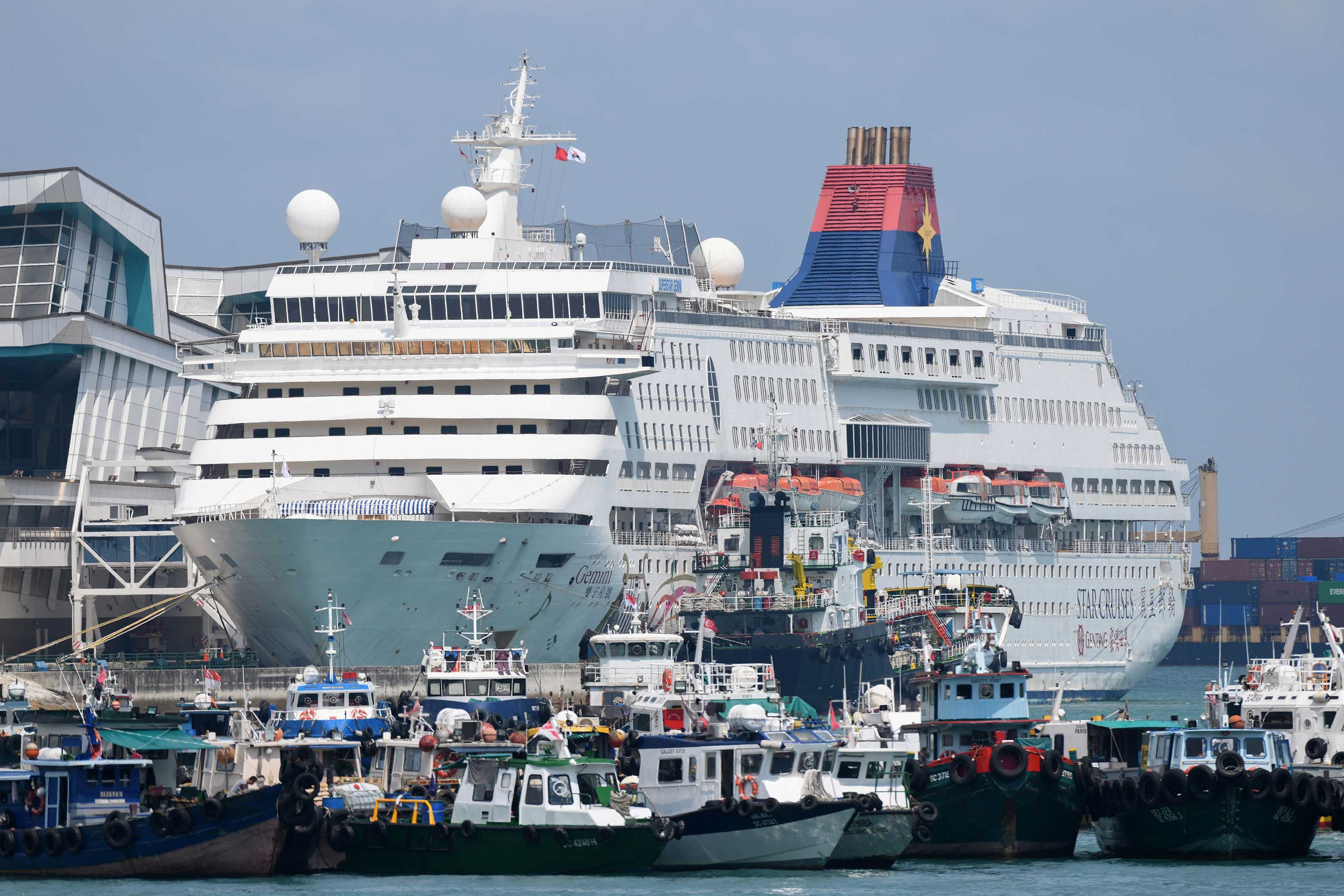 The SuperStar Gemini cruise ship is docked in Singapore on April 17, as authorities considered whether to use two ships as temporary accommodation for foreign workers during the coronavirus outbreak.
