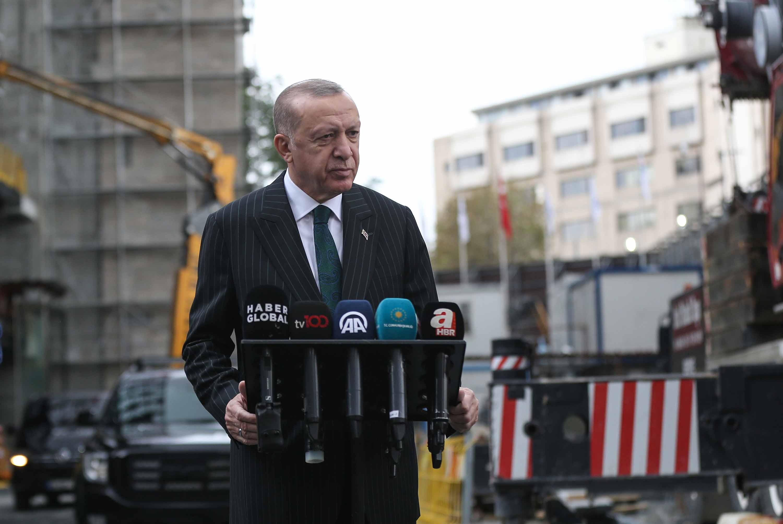 Turkish President Reccep Tayyip Erdogan speaks to the media in Istanbul, Turkey, earlier on Friday.