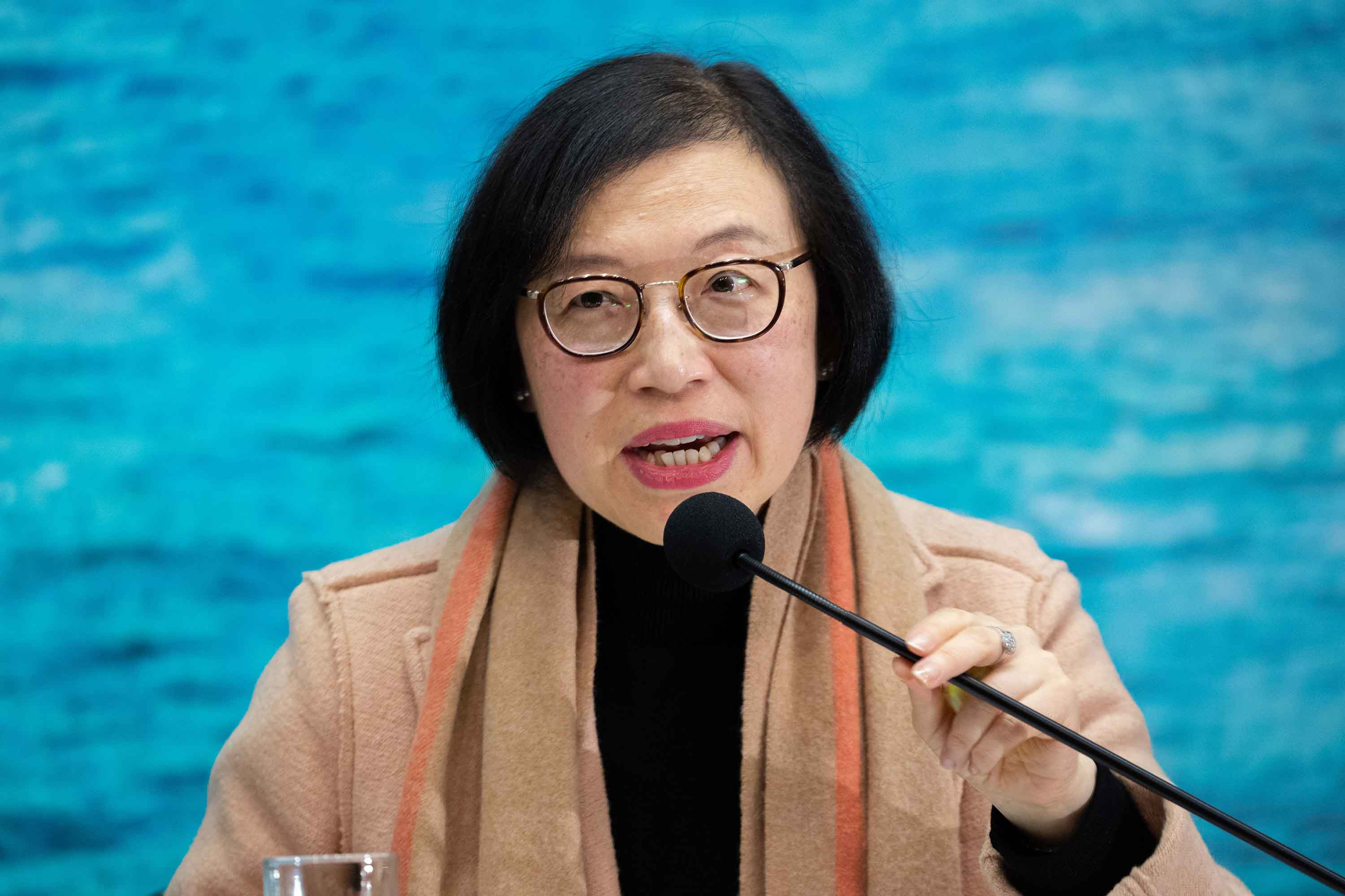 Sophia Chan, Chief Executive of Hospital Authority, speaks during a press conference in Hong Kong on January 20.