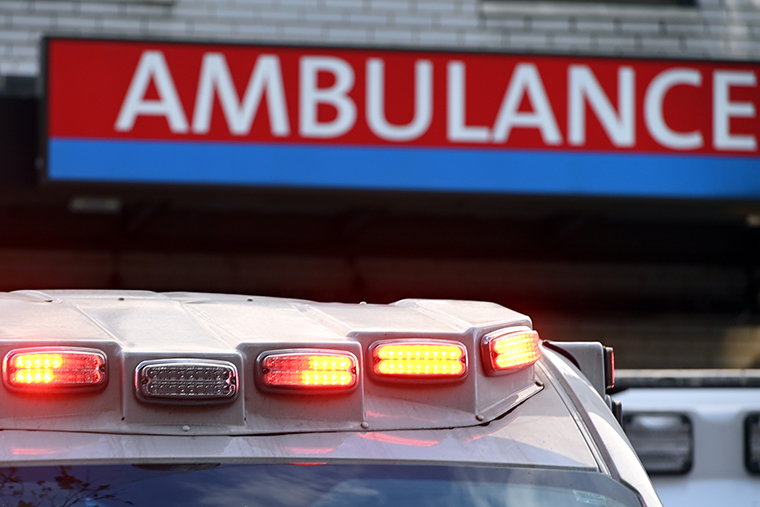 An ambulance pulls into the Long Island Jewish Forest Hills Northwell Health Hospital in the Queens borough of New York City, on November 10.