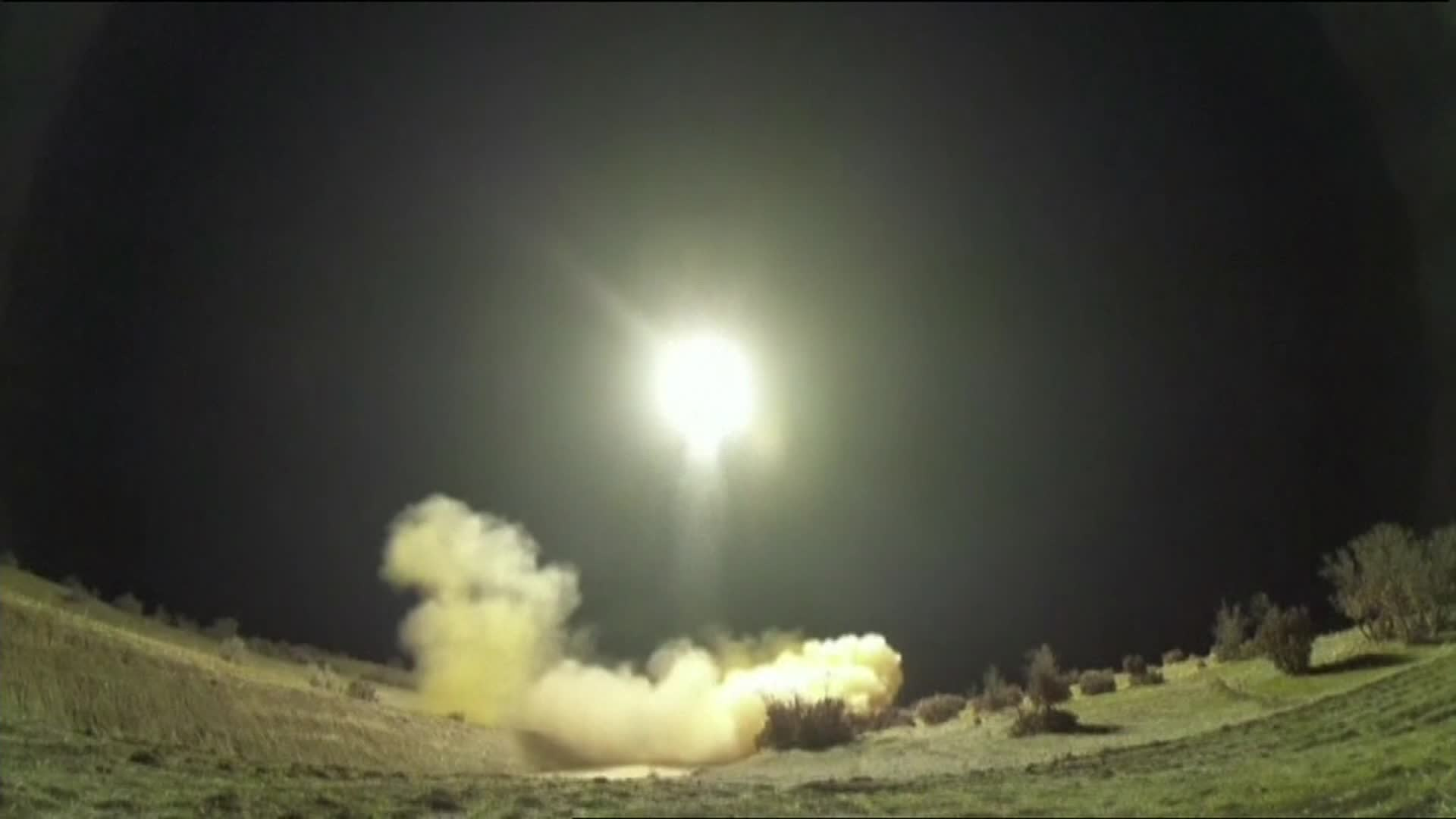A screengrab from video reportedly shows Iranian missiles being launched early on Wednesday.