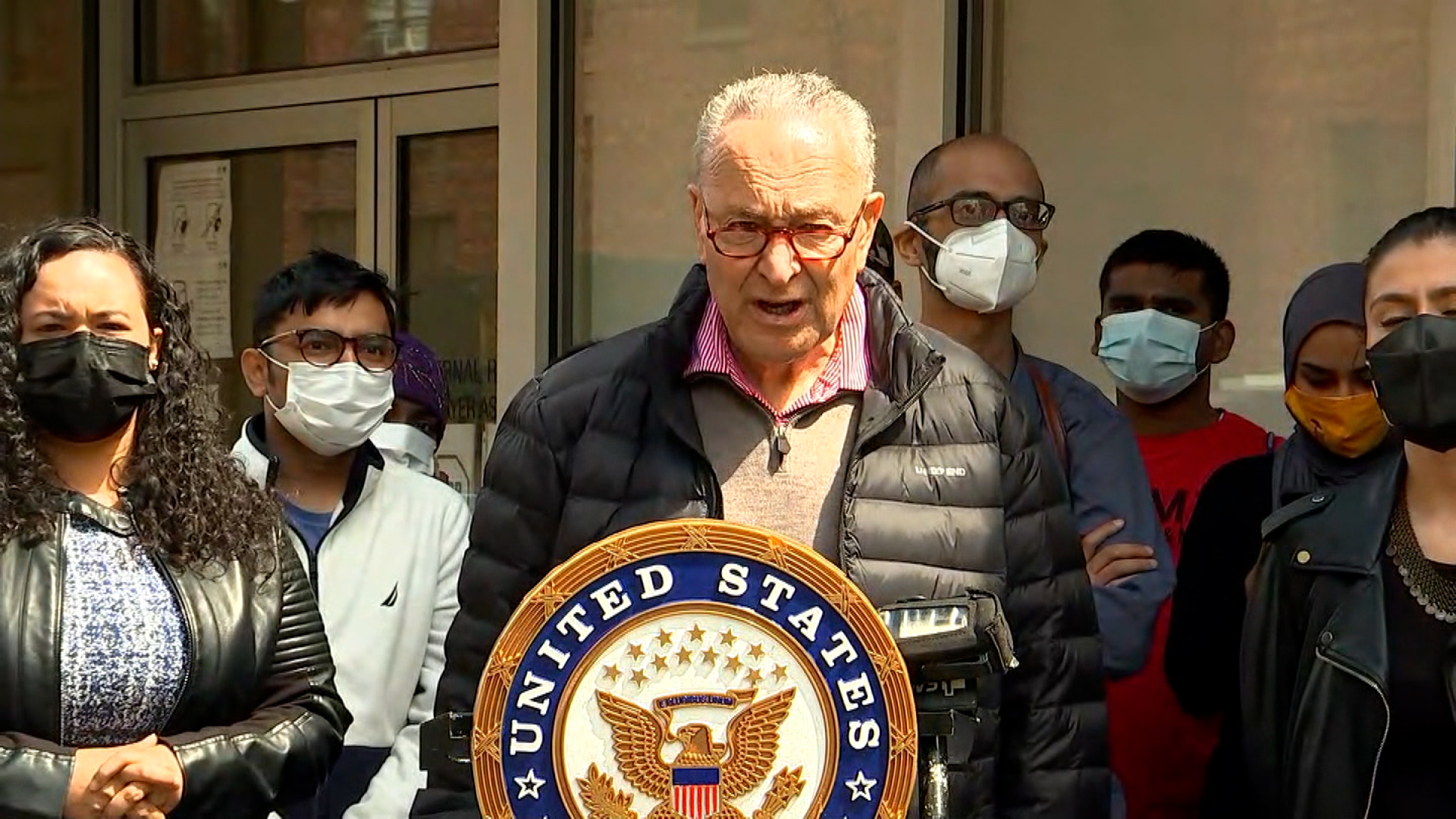 US Senate Majority Leader ChuckSchumer speaks during a press conference in New York City on April 30.