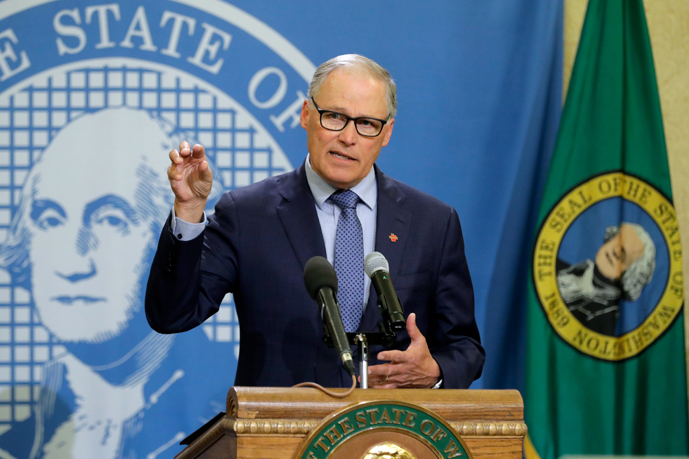 Washington Gov. Jay Inslee speaks during a news conference on Monday, April 13, at the Capitol in Olympia, Washington.