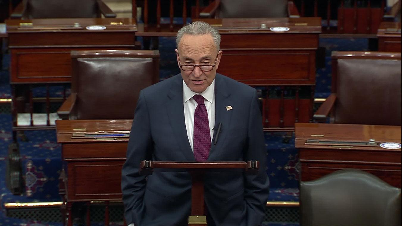 Senate Minority Leader Chuck Schumer speaks on the Senate floor on Monday.