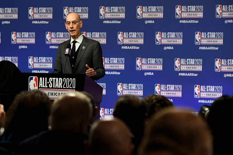 NBA Commissioner Adam Silver speaks to the media during a press conference at the United Center on February 15 in Chicago, Illinois.
