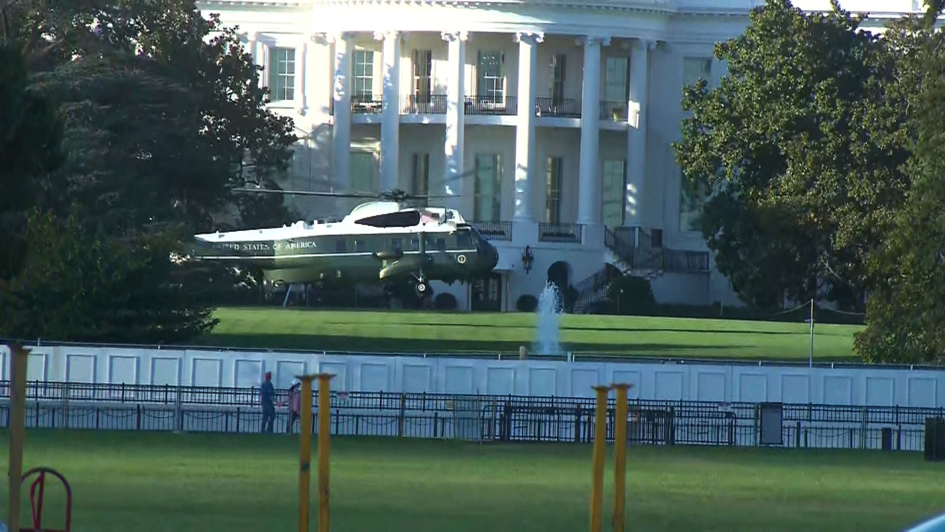 Marine One lands on the lawn of the White House on October 2 in Washington, DC.