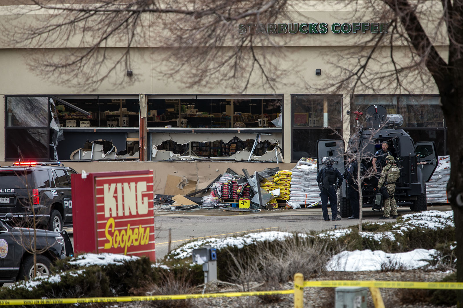 Tactical police units respond to the scene of a King Soopers grocery store after a shooting on March 22, in Boulder, Colorado.