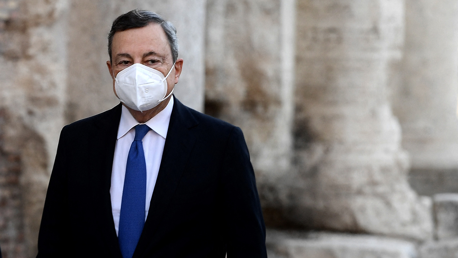 Italy Prime Minister Mario Draghi arrives to the Colosseum on the first day of the G20 Culture Ministers meeting on July 29, in Rome.