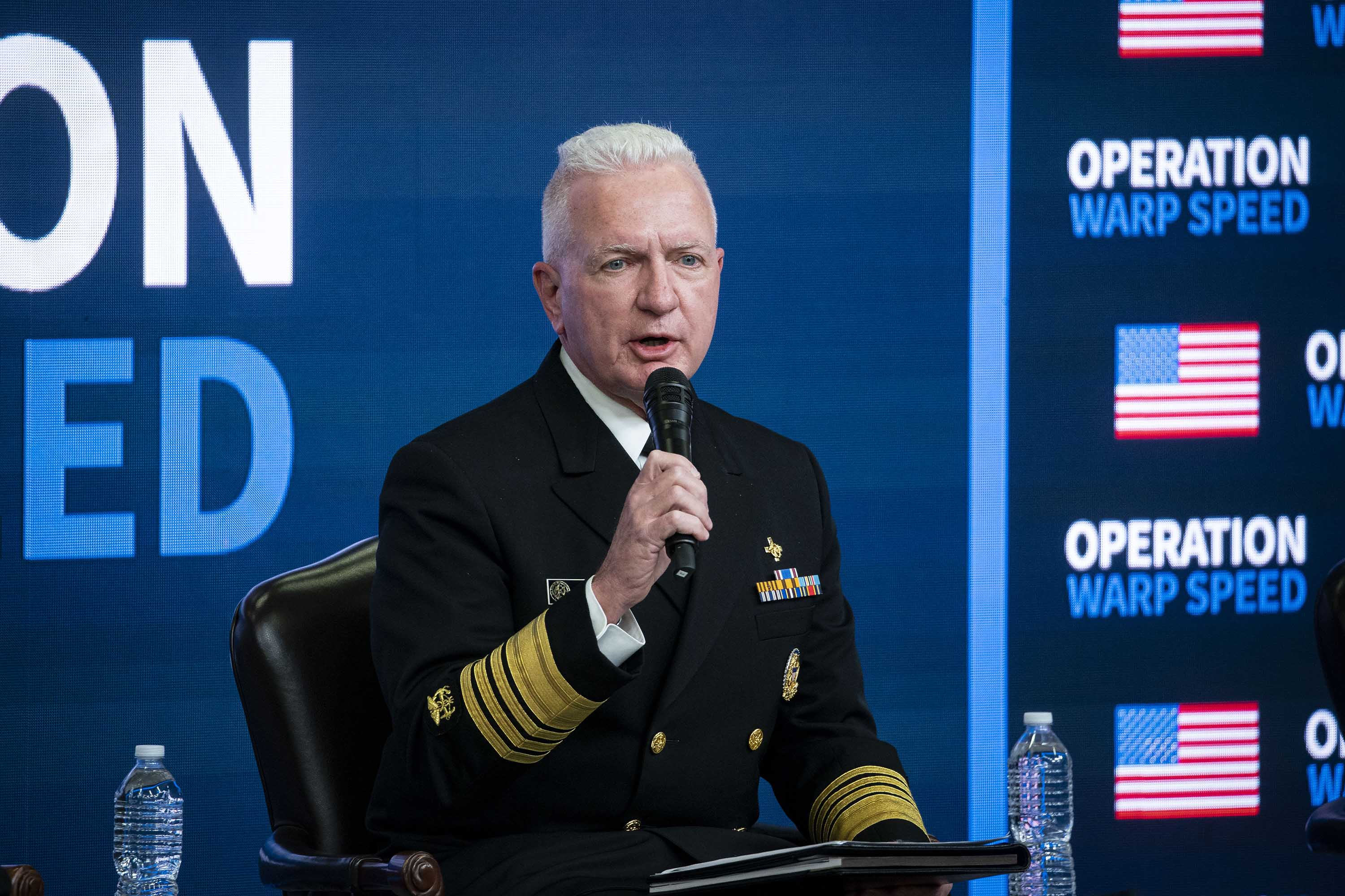 Admiral Brett Giroir, assistant secretary for health, speaks during an Operation Warp Speed vaccine summit at the White House in Washington, D.C., on December 8.