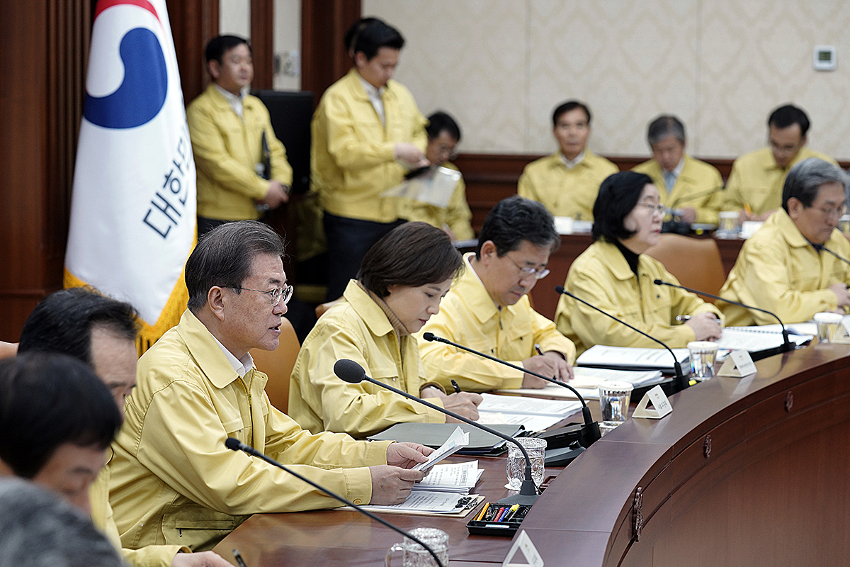 South Korean President Moon Jae-in speaks during a meeting about coronavirus at a government complex on February 23, 2020 in Seoul, South Korea.