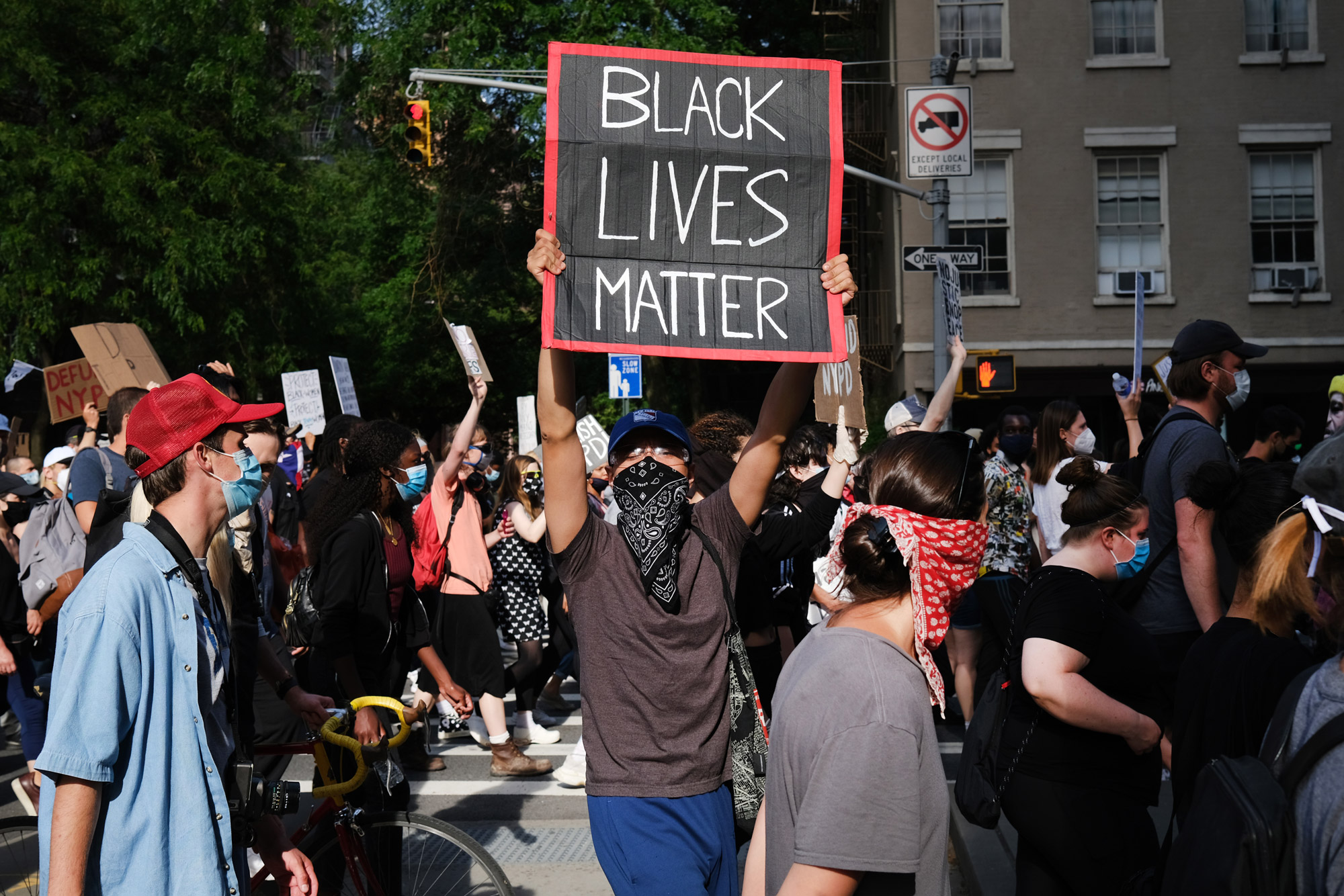 Protesters march on June 15 in New York.