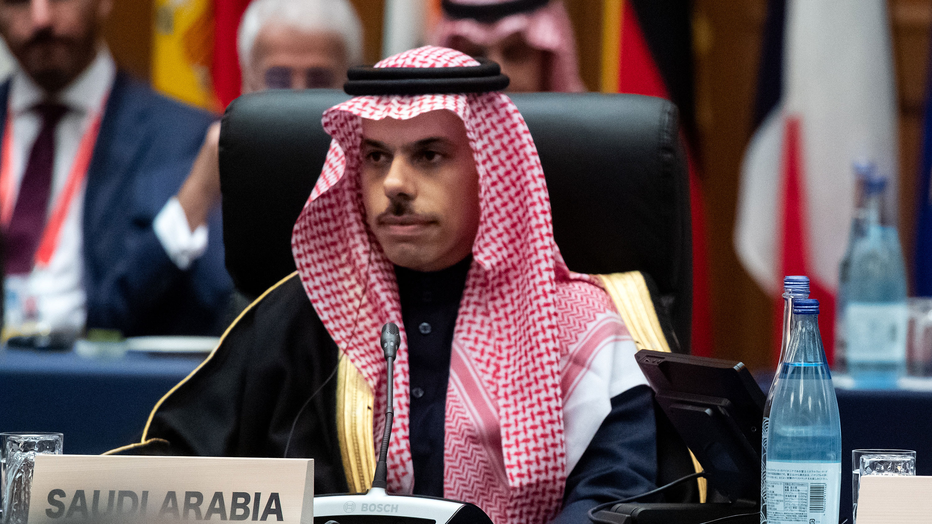 Prince Faisal bin Farhan bin Abdullah Al-Saud (l), Minister of Foreign Affairs of Saudi Arabia attends the G20 Foreign Ministers' Meeting on November 23, 2019.
